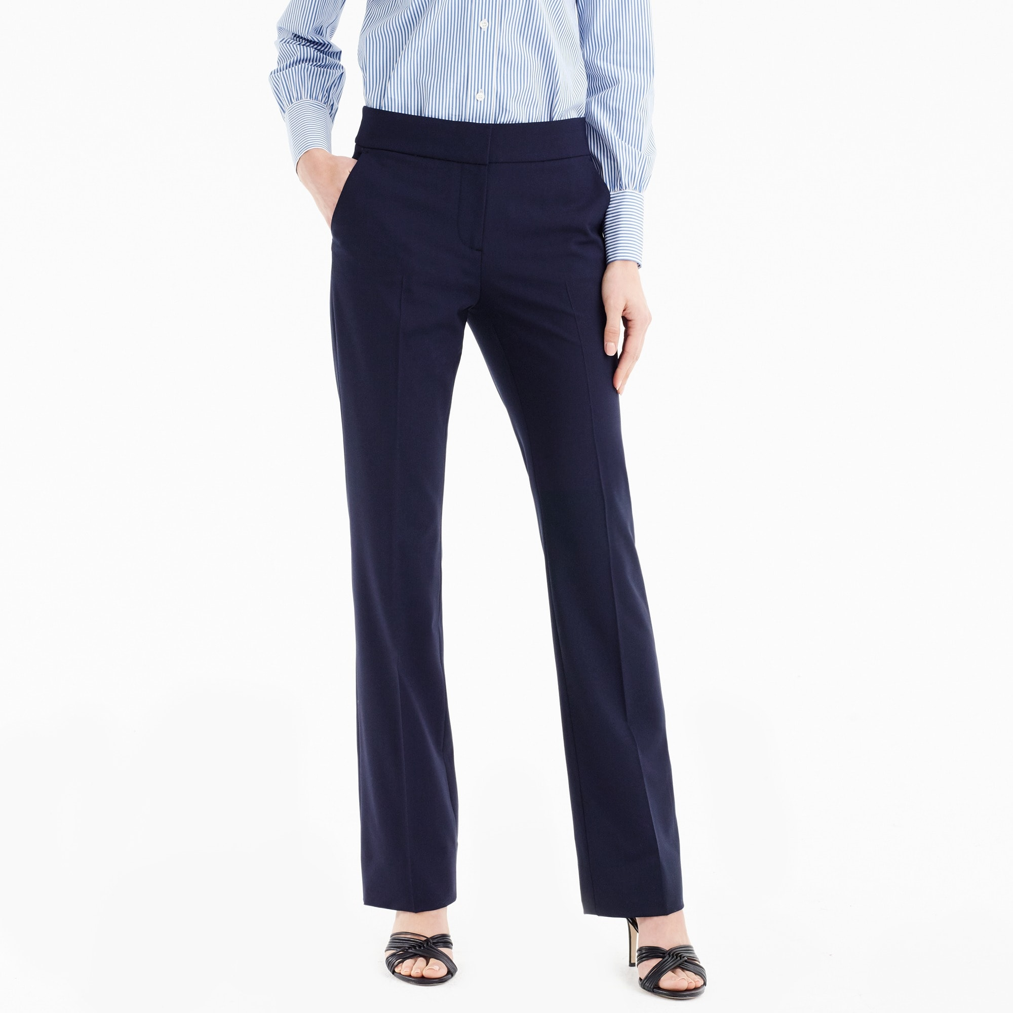 Edie full-length lined trouser in Italian two-way stretch wool women suiting c