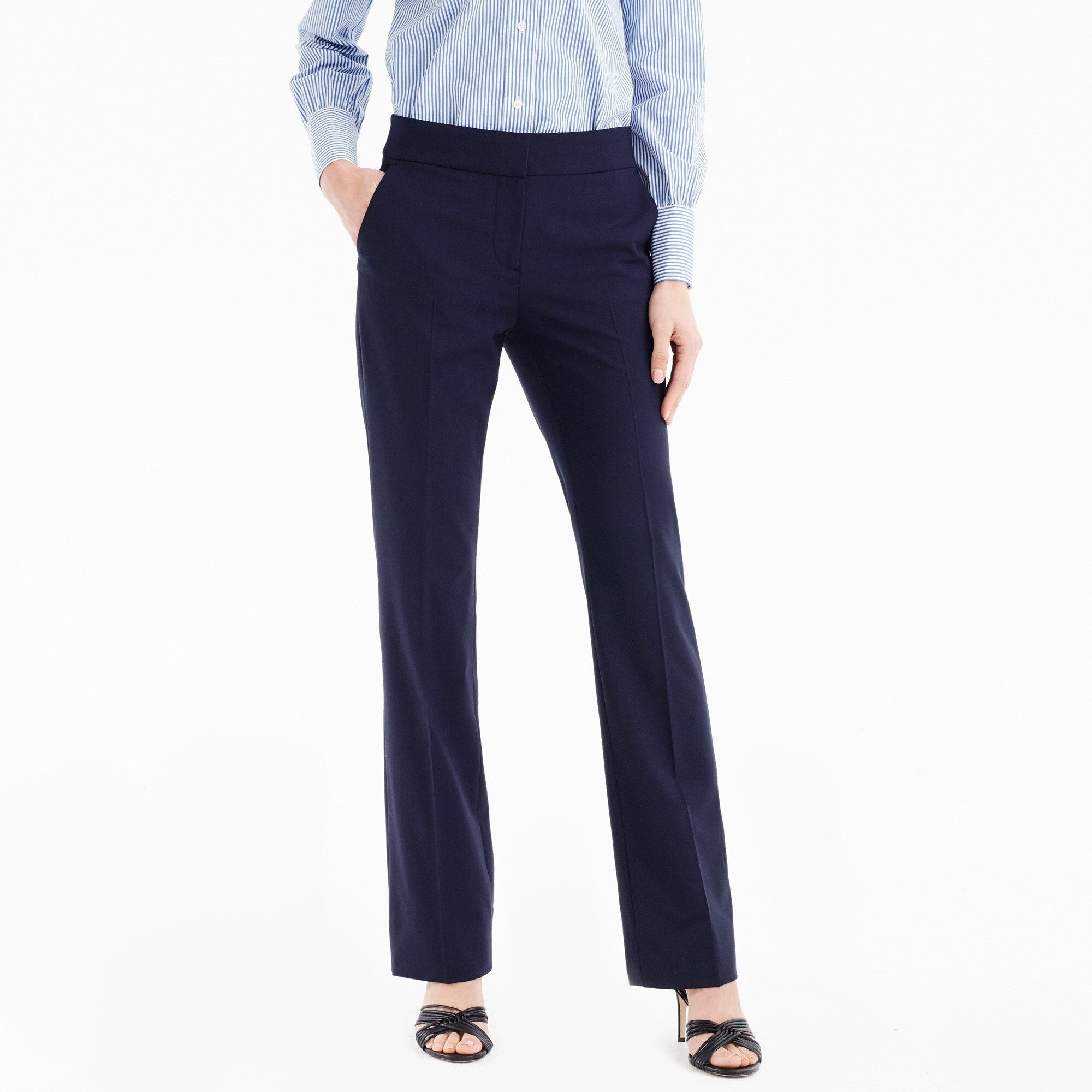 Petite Edie full-length lined trouser in Italian two-way stretch wool women petite c