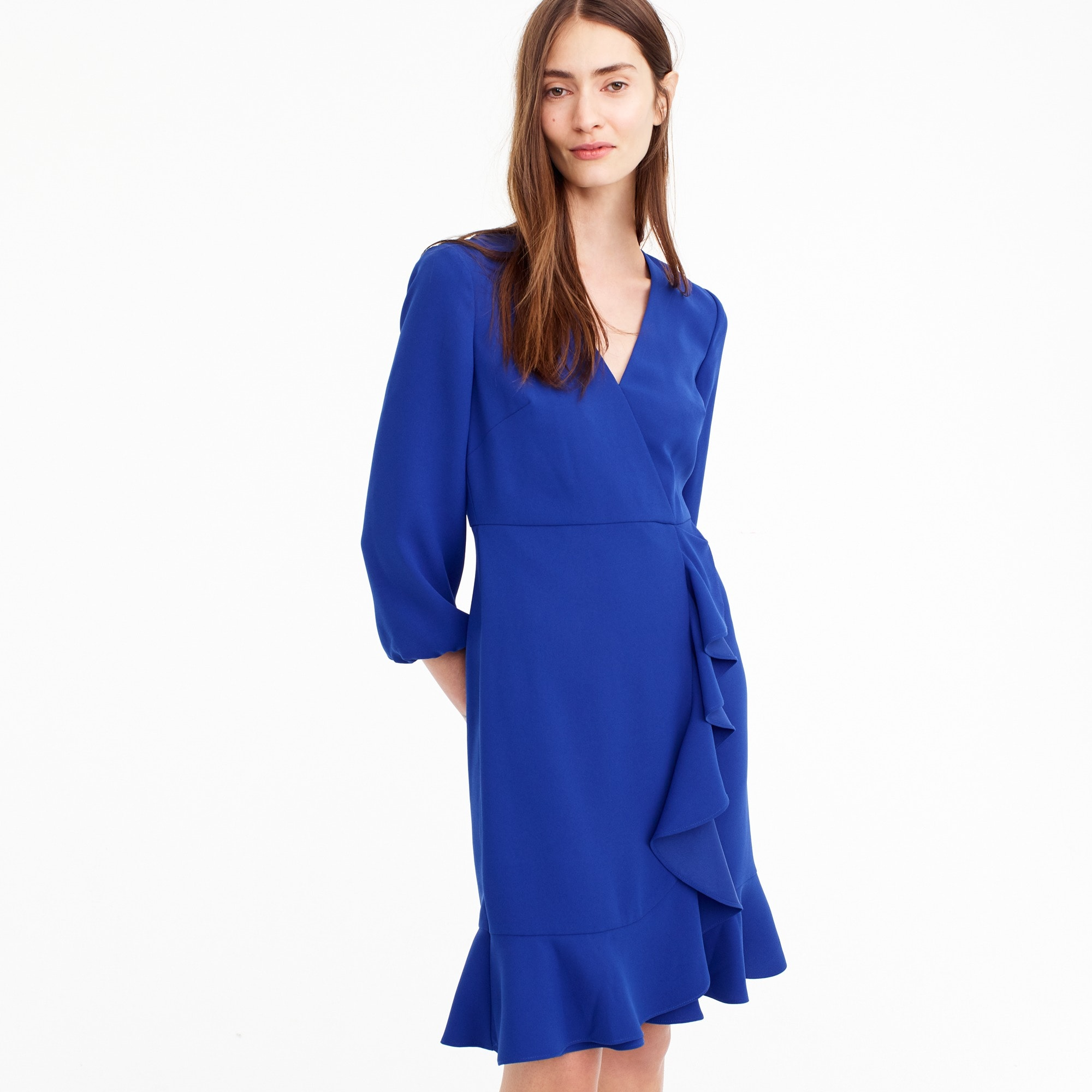 Drapey ruffle-front dress women suiting c