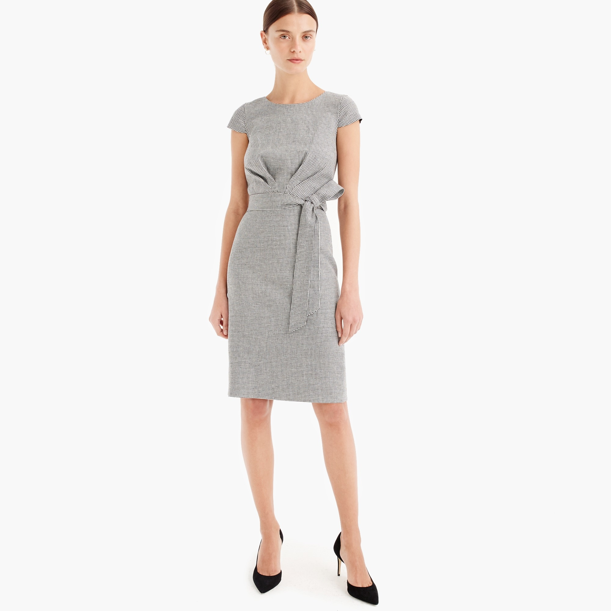 Image 1 for Tie-front dress in mini-houndstooth