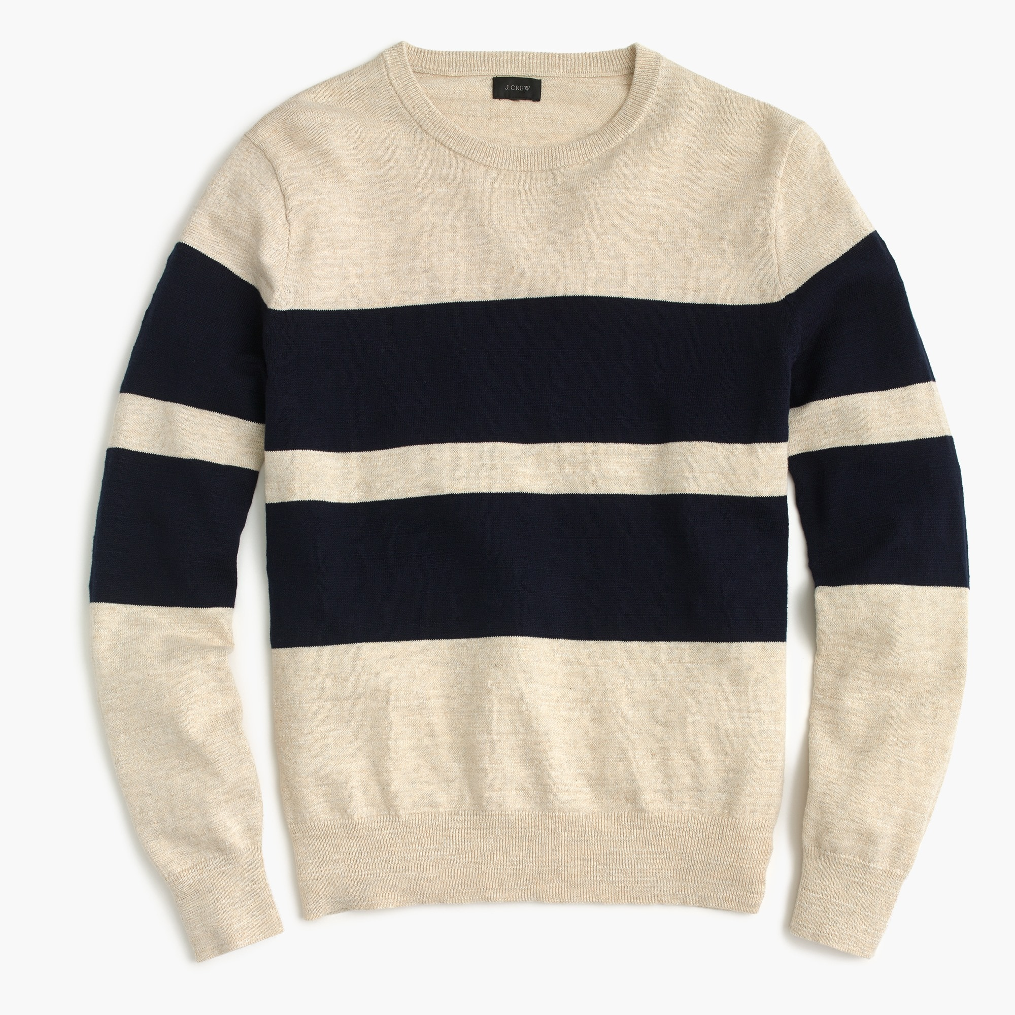 Slim rugged cotton crewneck sweater in bold stripe