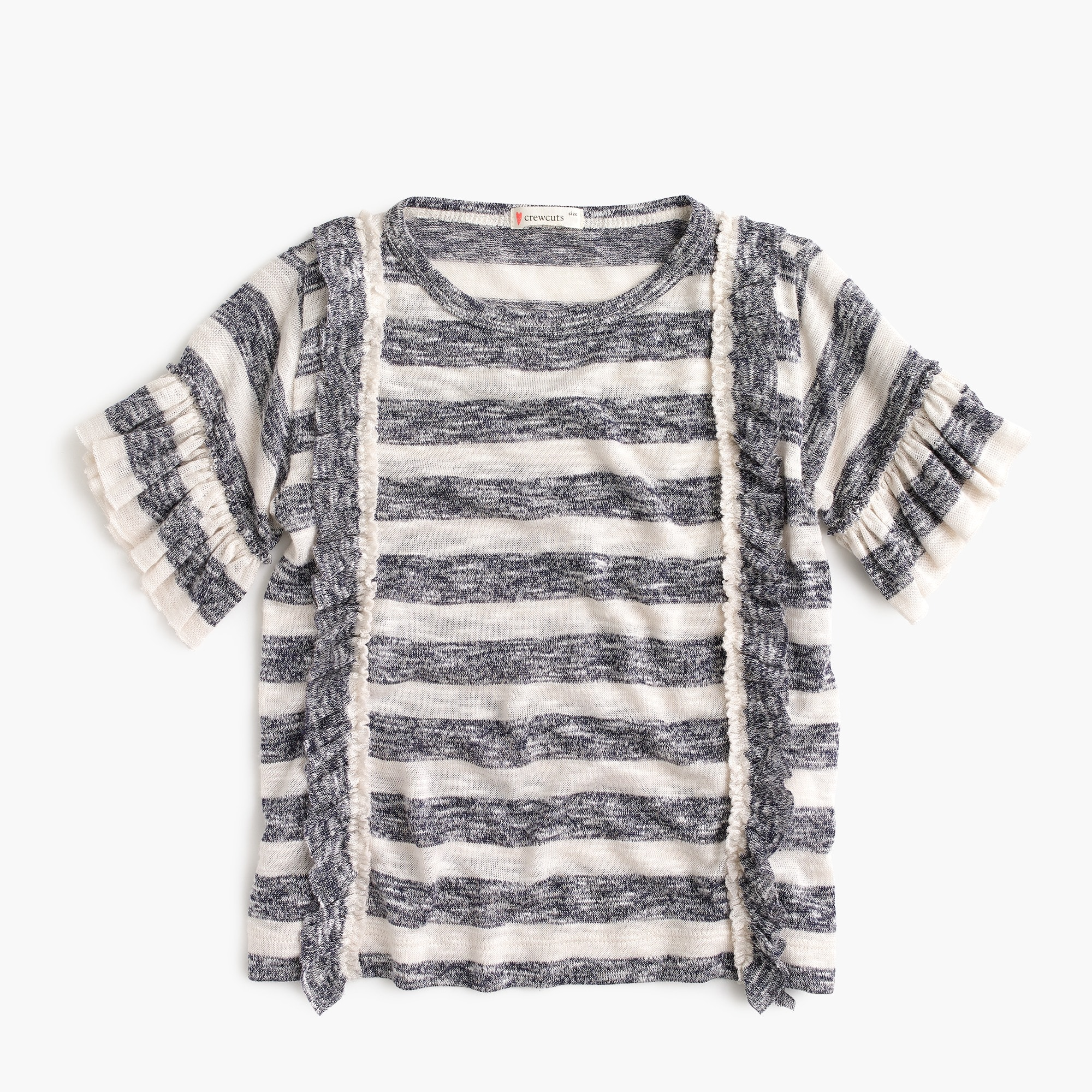Image 1 for Girls' striped T-shirt with ruffles