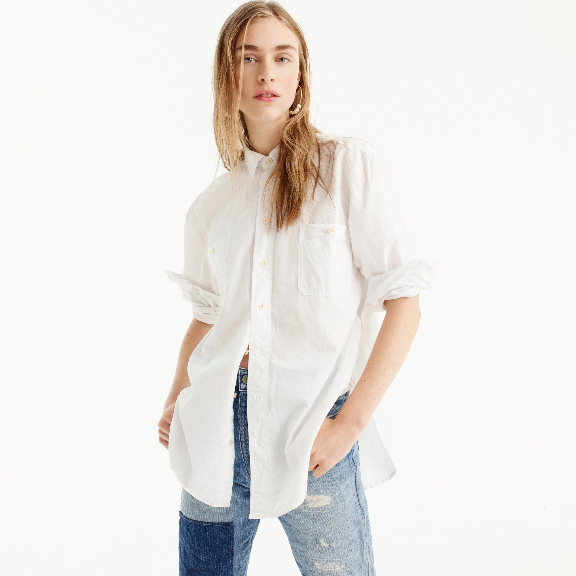 Relaxed chambray boy shirt in white women shirts & tops c