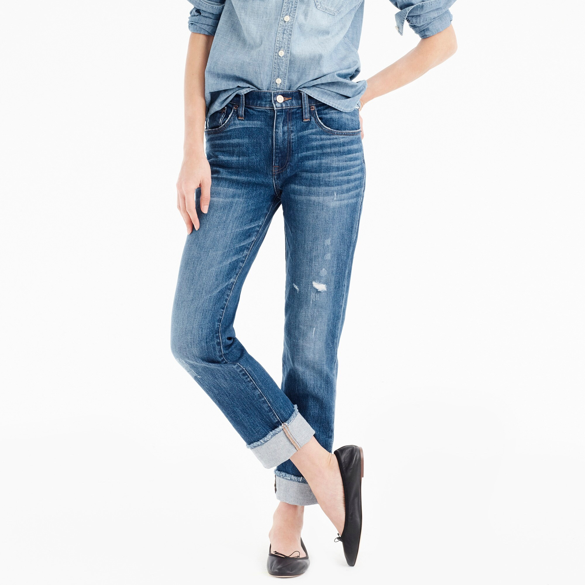 Image 1 for Petite slim boyfriend jean with cut hem