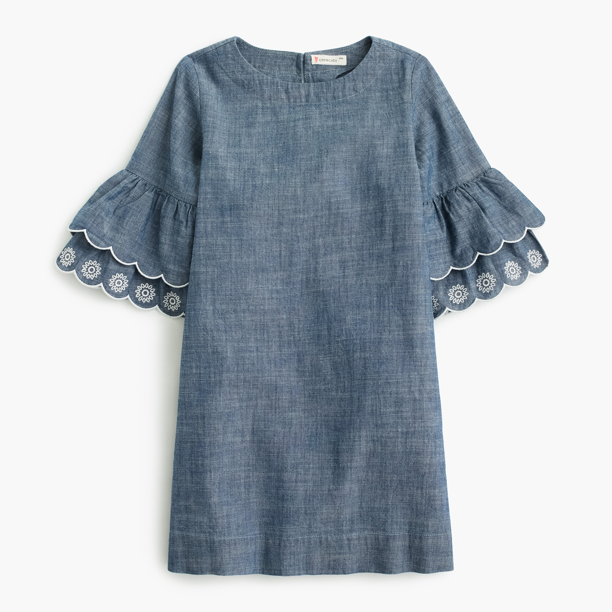 Girls' ruffle-sleeve chambray dress girl new arrivals c