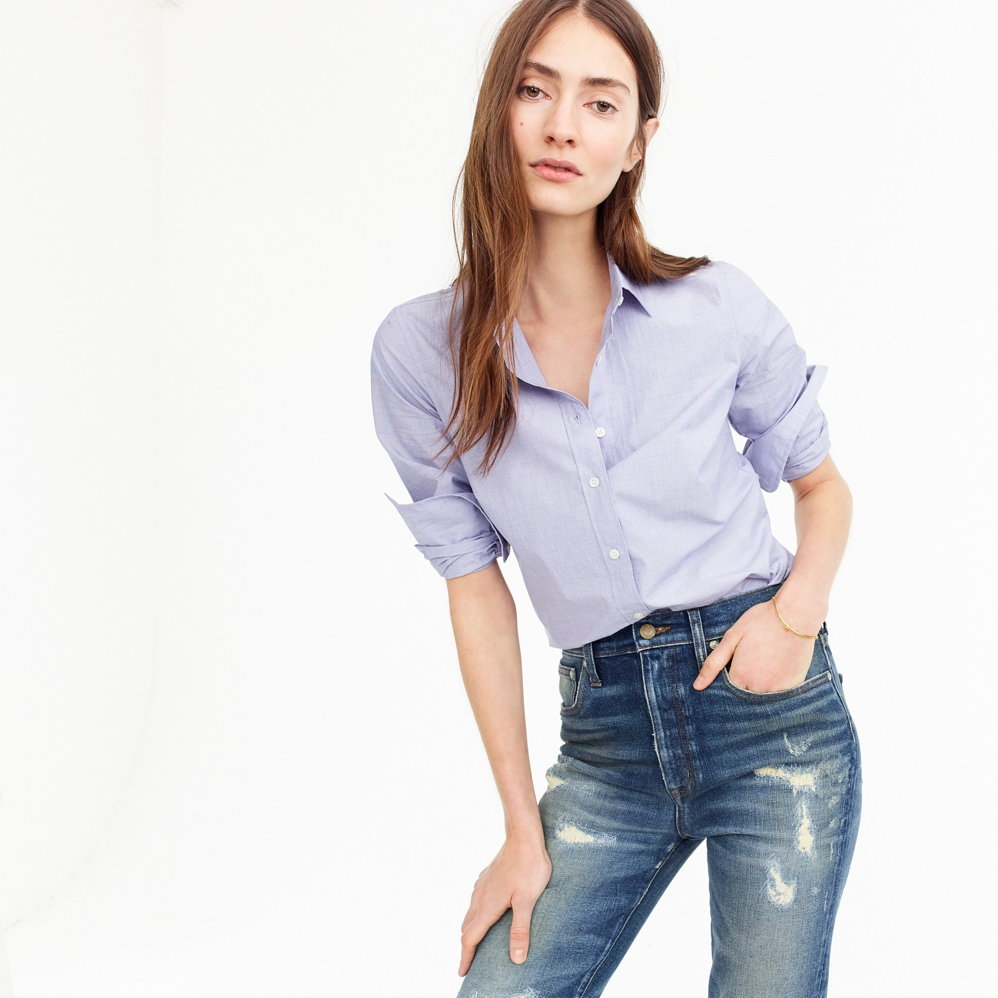 Slim Perfect shirt in end-on-end cotton women shirts & tops c