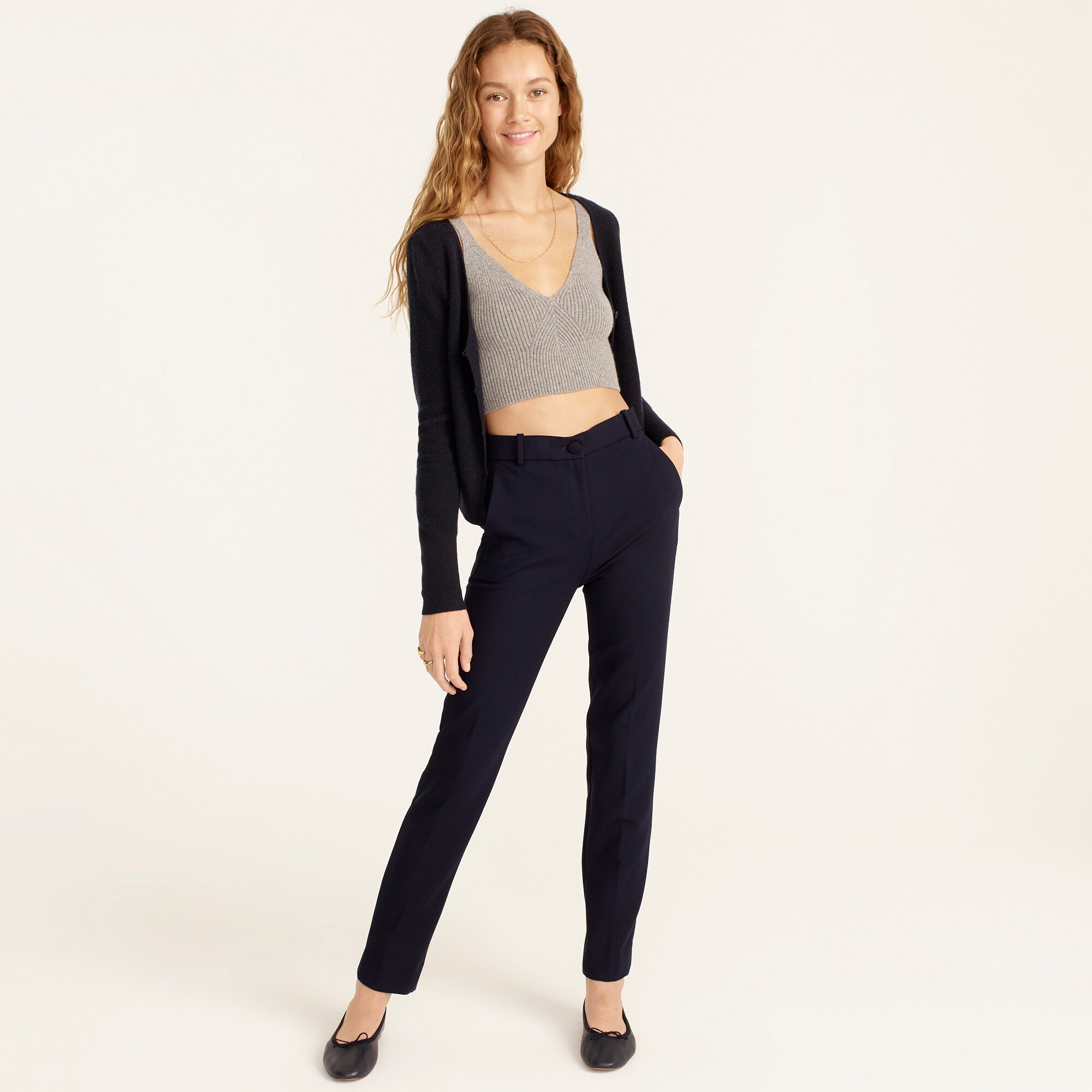 Petite High-rise Cameron pant in four-season stretch women petite c