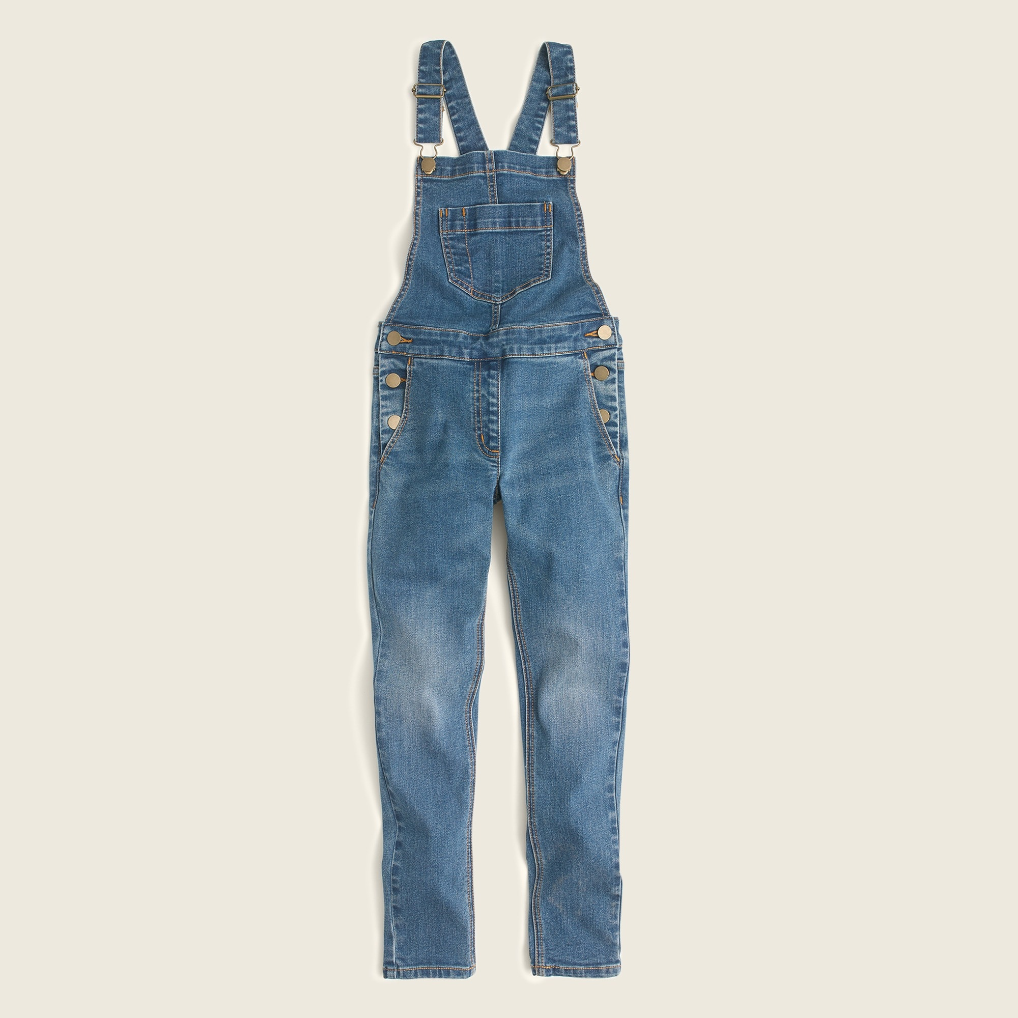 Girls' stretch-denim overalls girl pants c