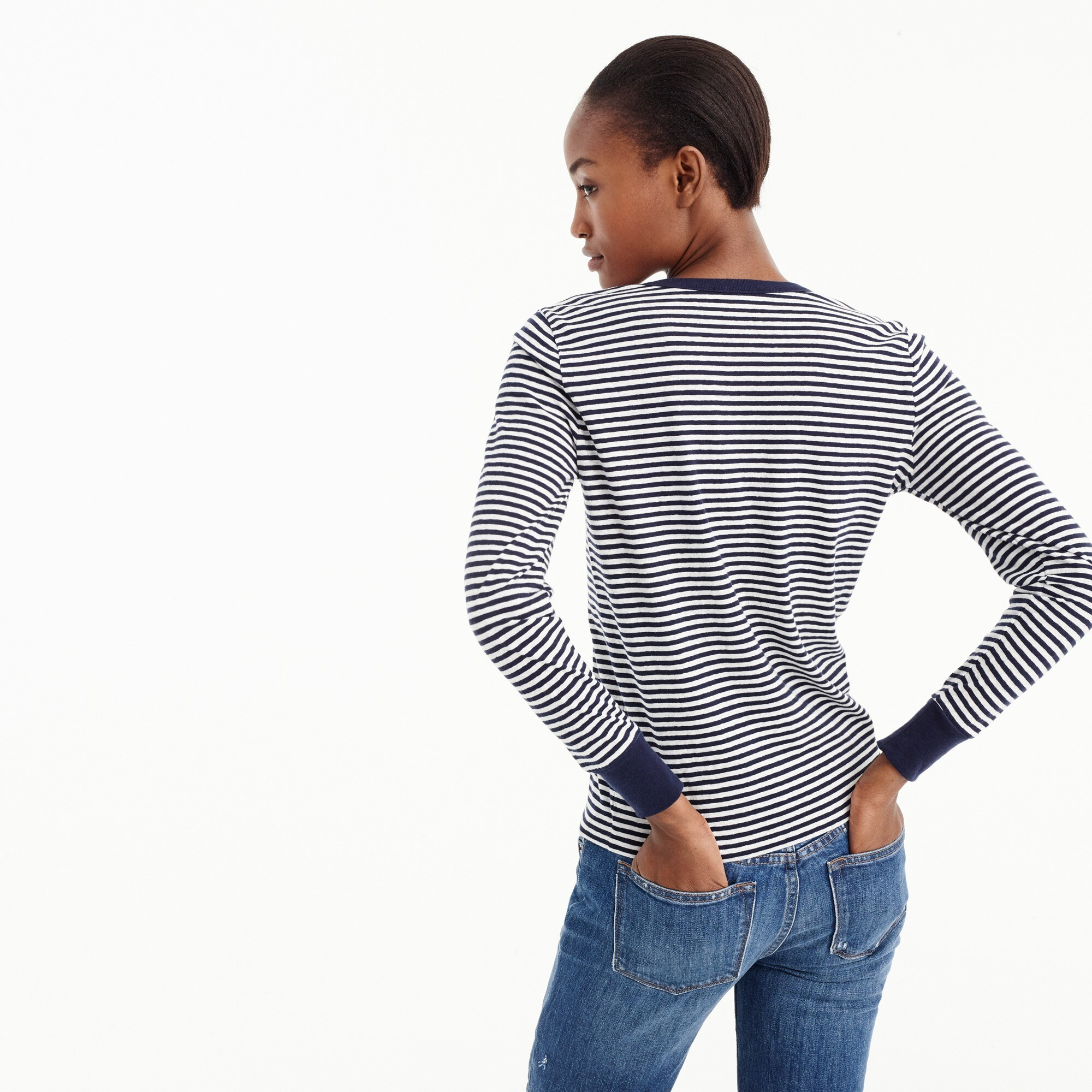 Image 2 for Striped henley T-shirt