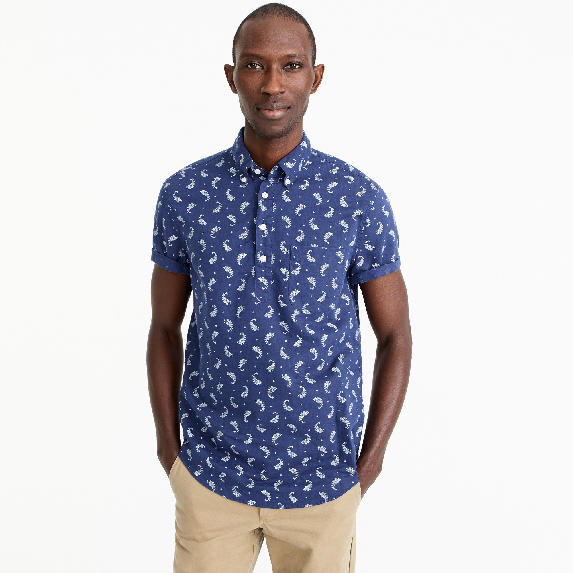 Short-sleeve popover in paisley print cotton-linen men new arrivals c