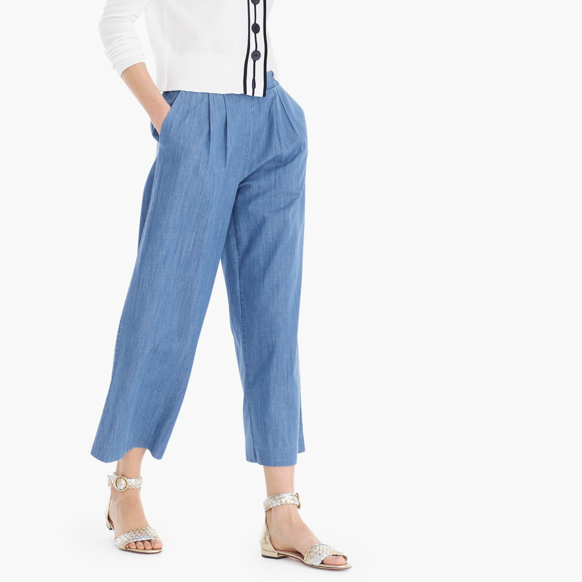 Wide-leg cropped chambray pant women new arrivals c