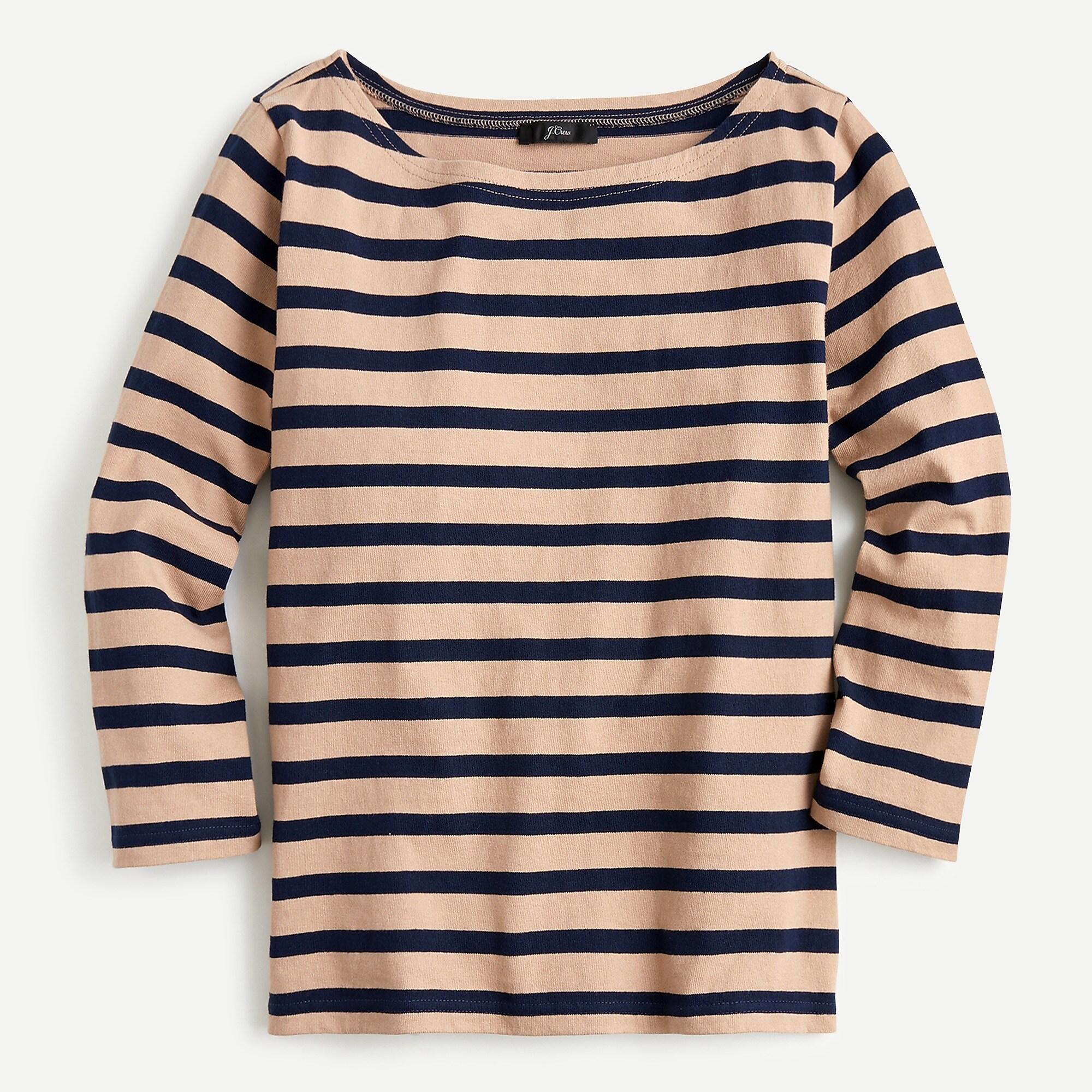 Structured boatneck T-shirt in stripe | J.Crew US