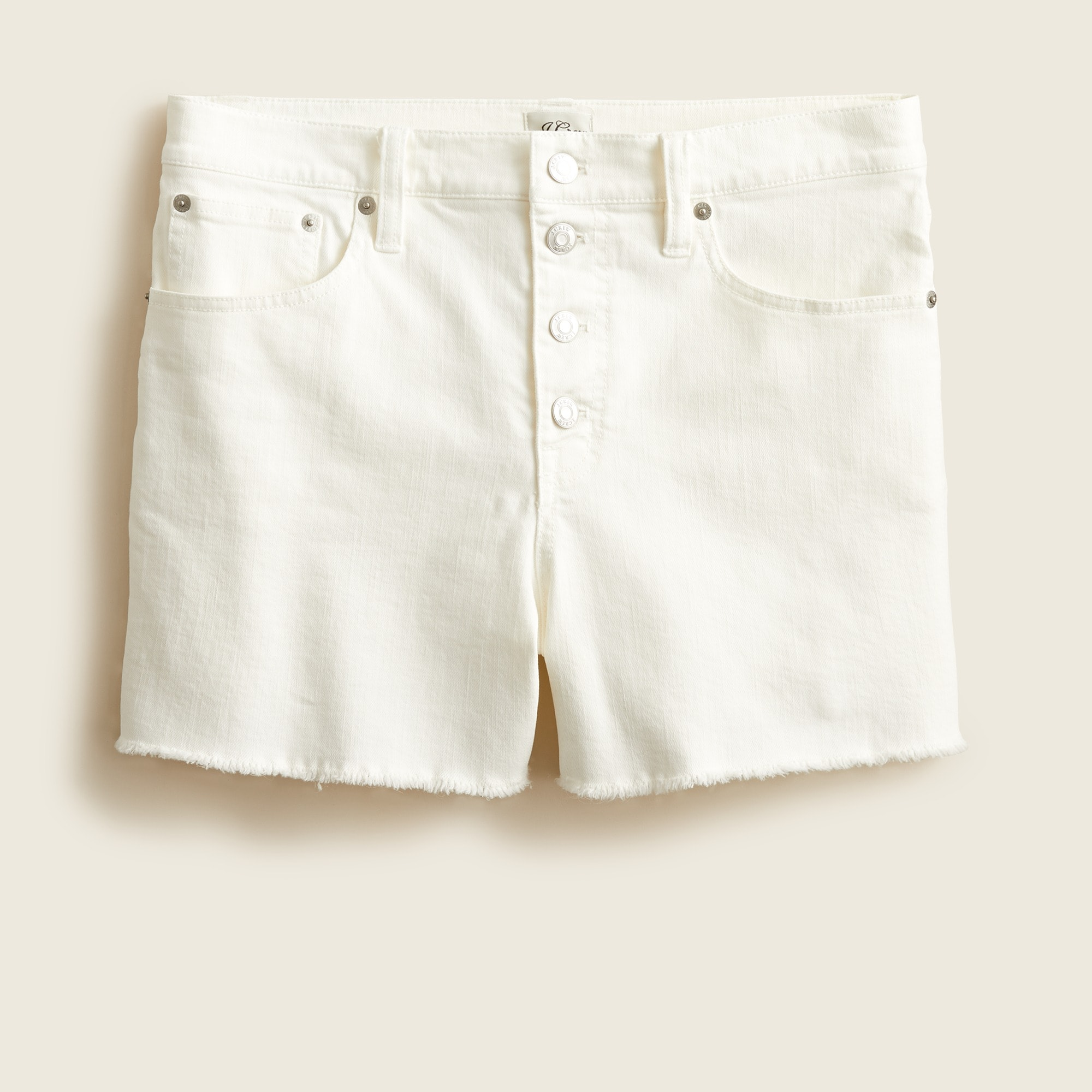 Image 5 for High-rise denim short in white with button fly