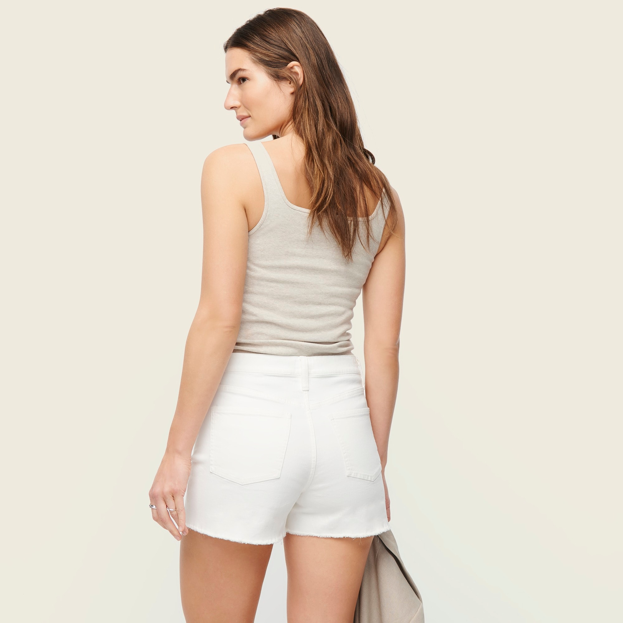 Image 3 for High-rise denim short in white with button fly