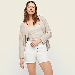 High-rise denim short in white with button fly