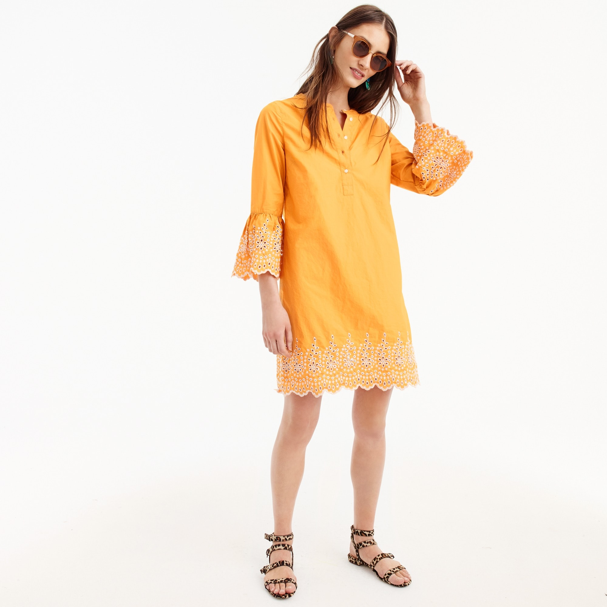 Embroidered bell-sleeve dress women dresses c