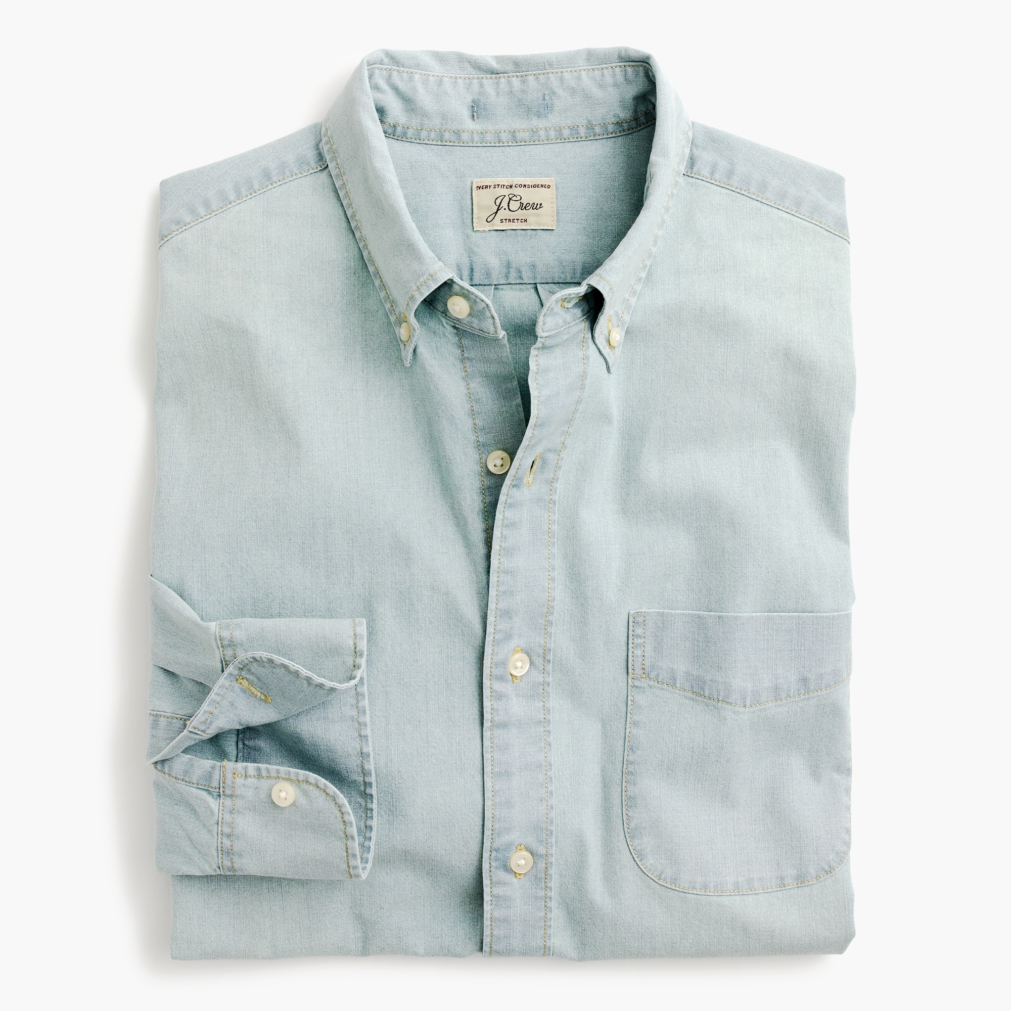 mens Slim light wash stretch chambray shirt