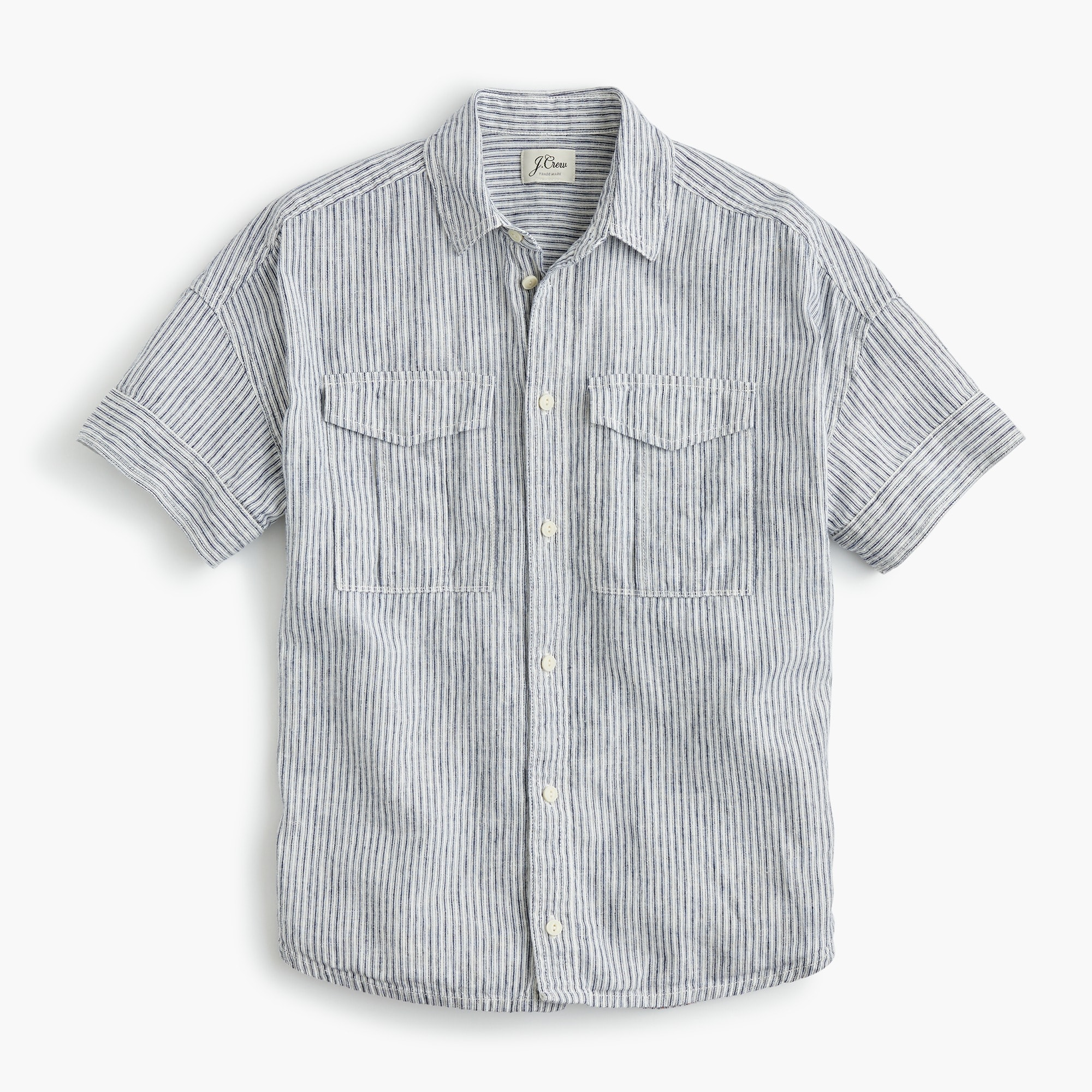 Tall utility pocket shirt in chambray stripe