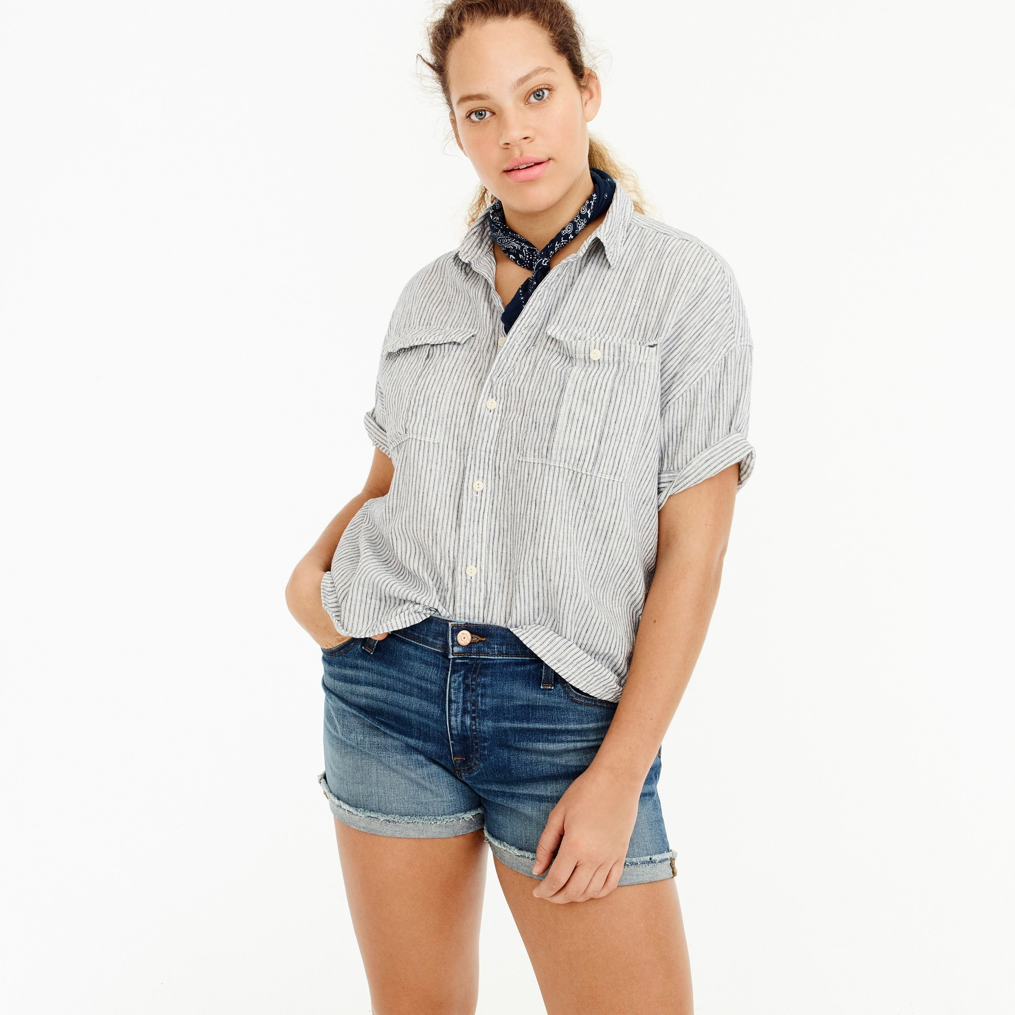Utility pocket shirt in chambray stripe women shirts & tops c