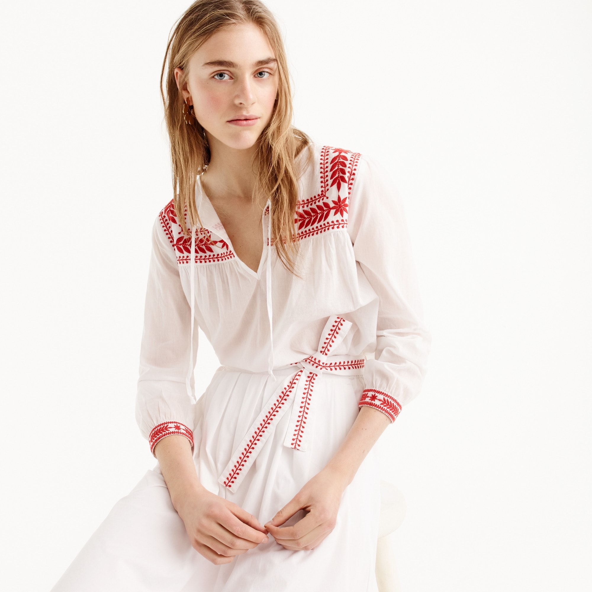 Petite embroidered top in cotton voile