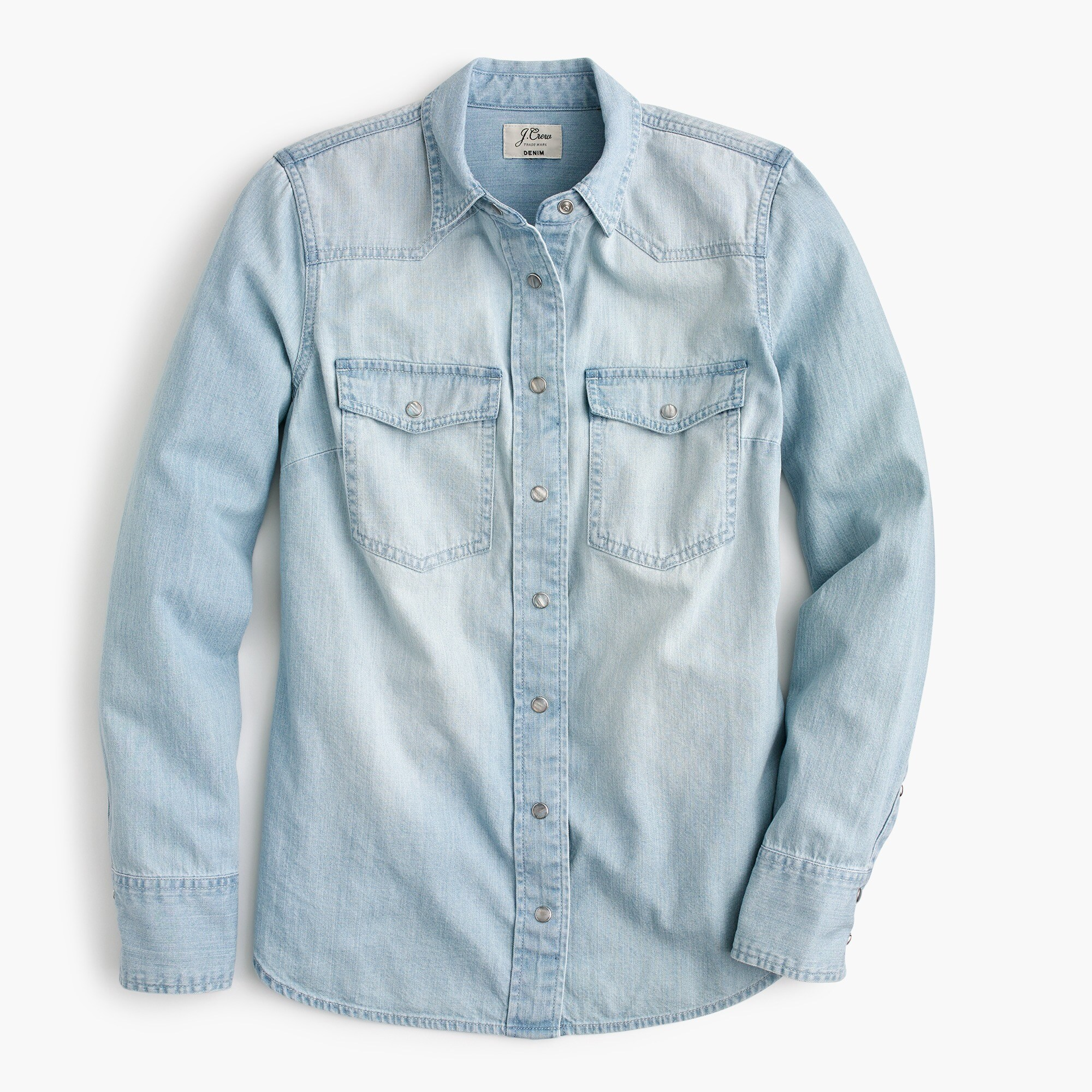 Petite Western shirt in light wash