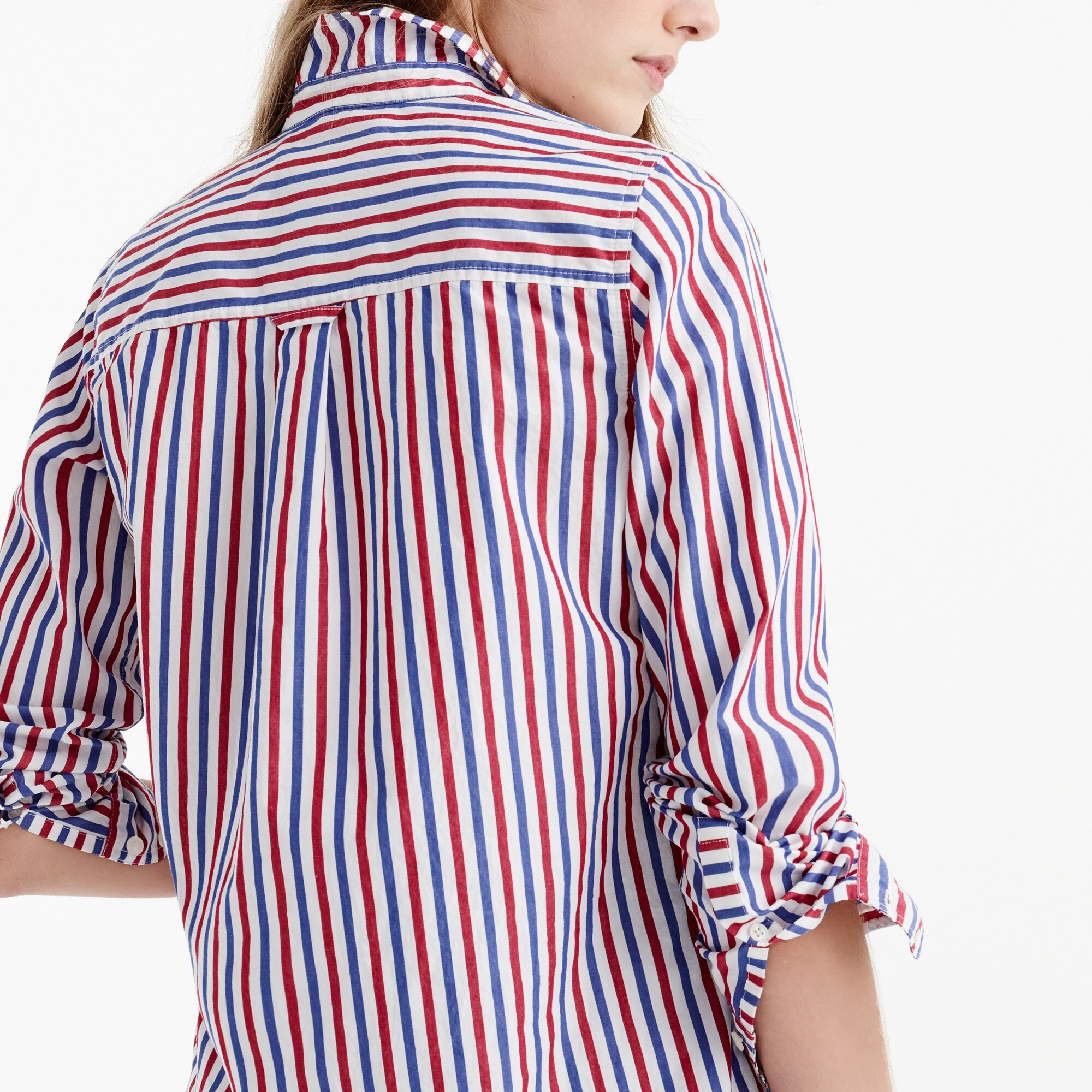 Classic-fit boy shirt in red-and-blue stripe women shirts & tops c