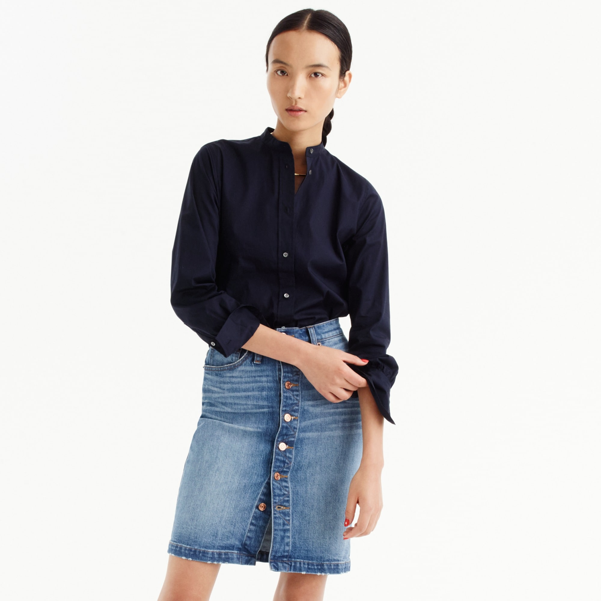 womens Button-front denim skirt