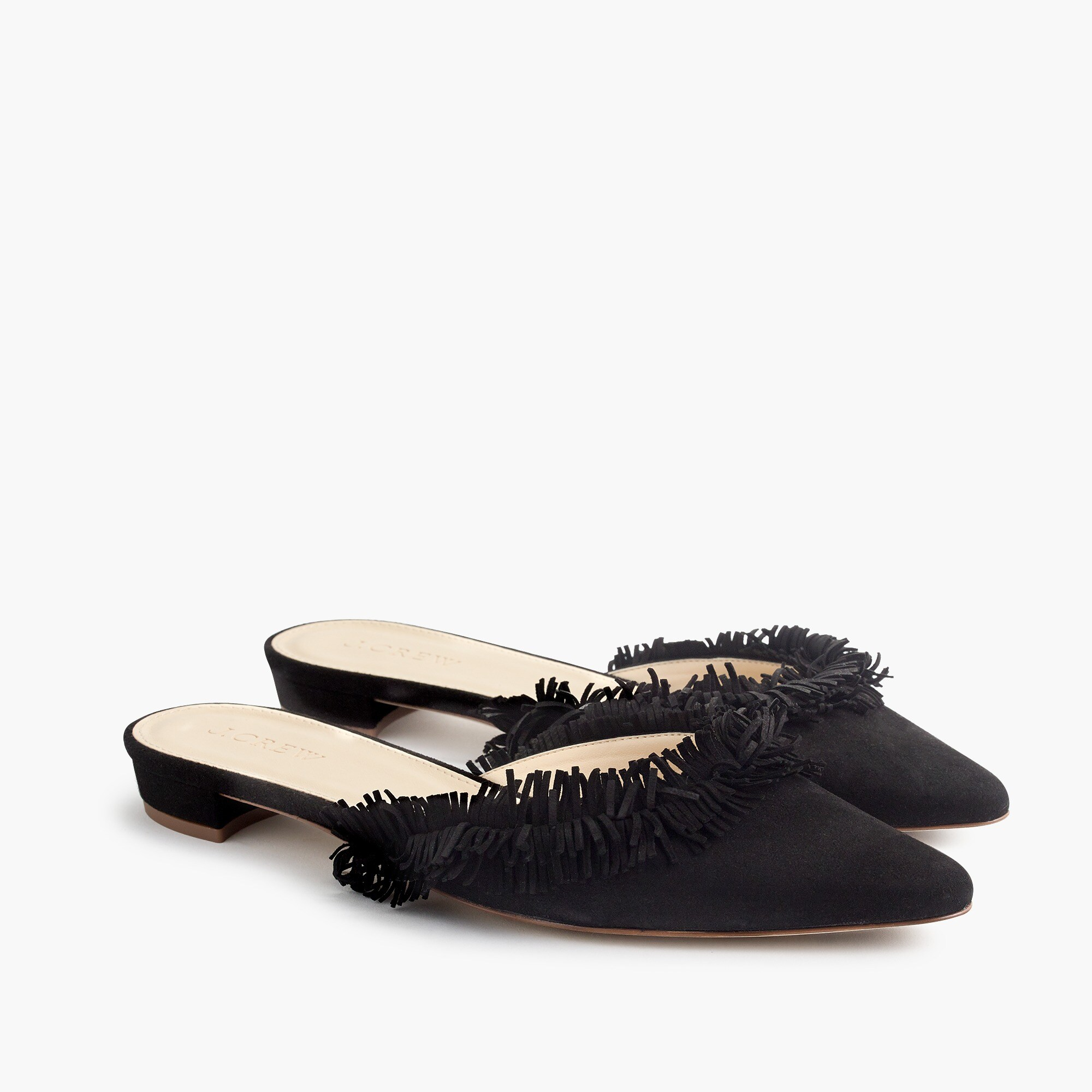 Suede fringe slipper mules women shoes c
