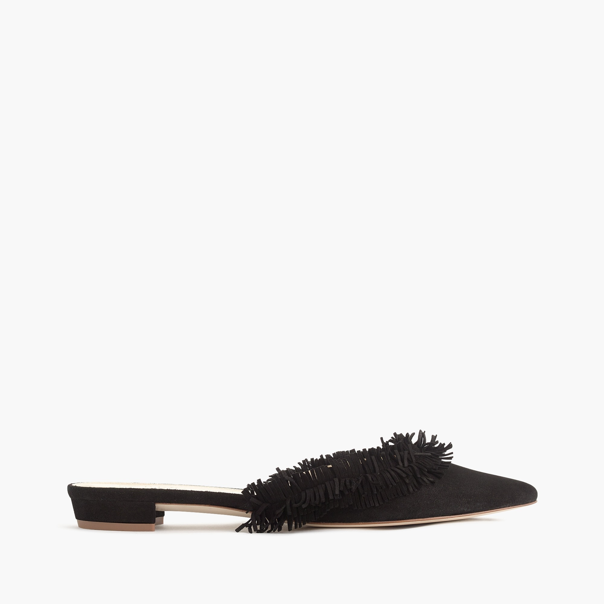 Image 3 for Suede fringe slipper mules