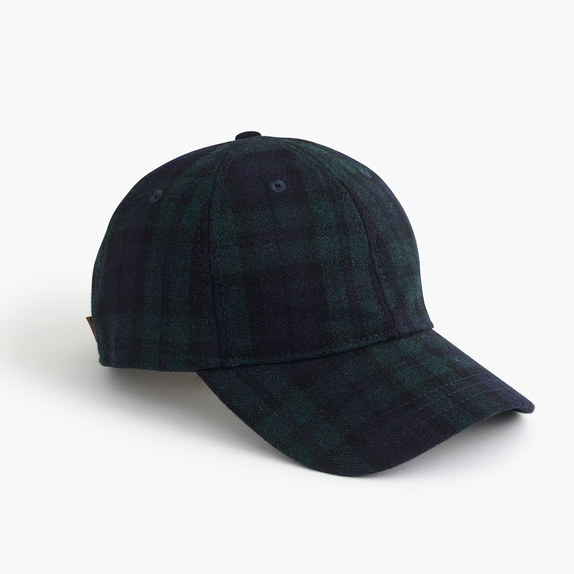 Black Watch plaid wool ball cap