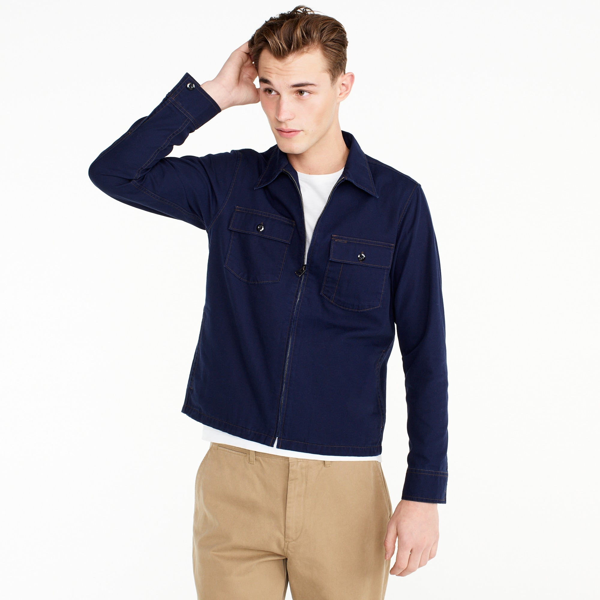 Wallace & Barnes canvas zip-front workshirt men new arrivals c