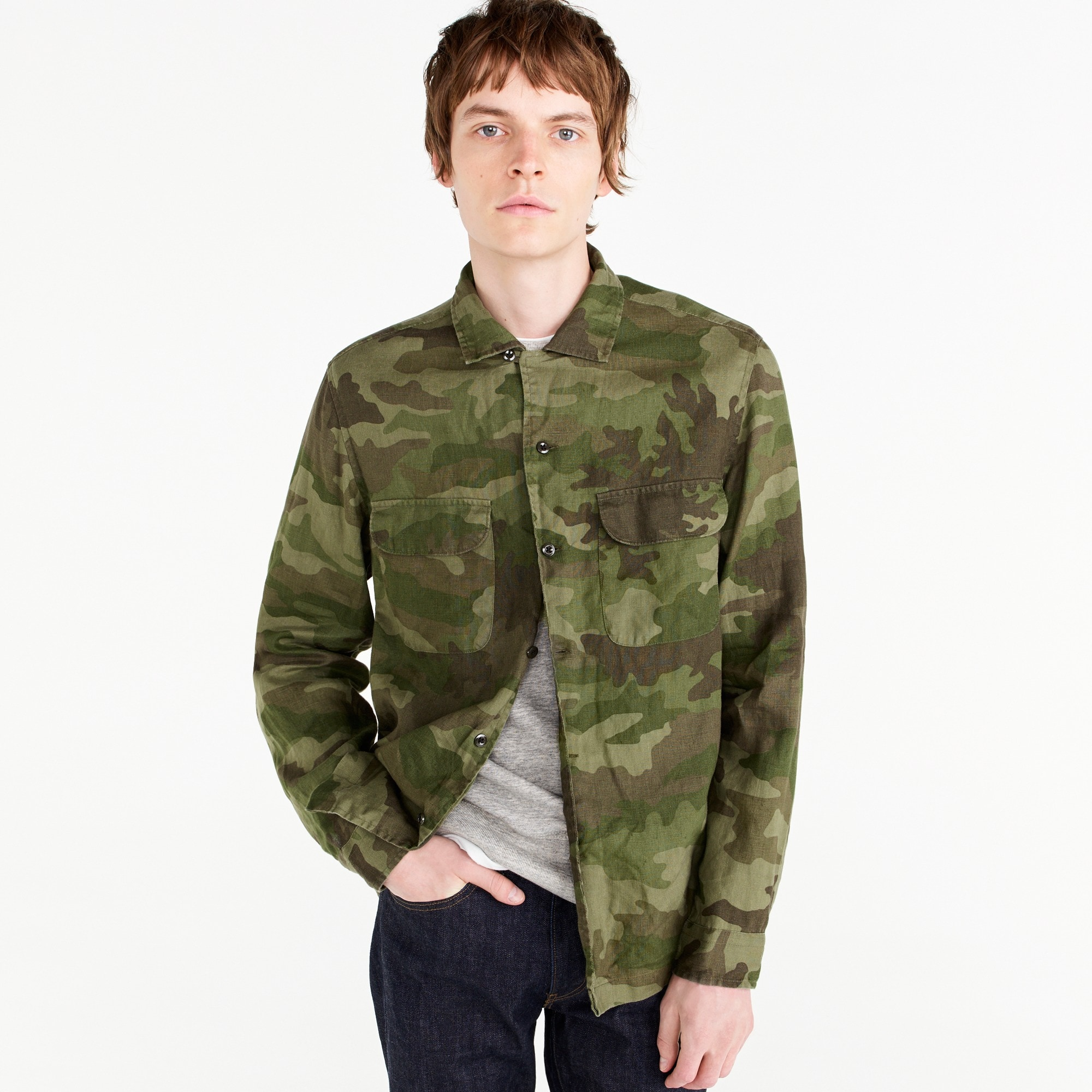 Image 2 for Wallace & Barnes camp-collar shirt in camo
