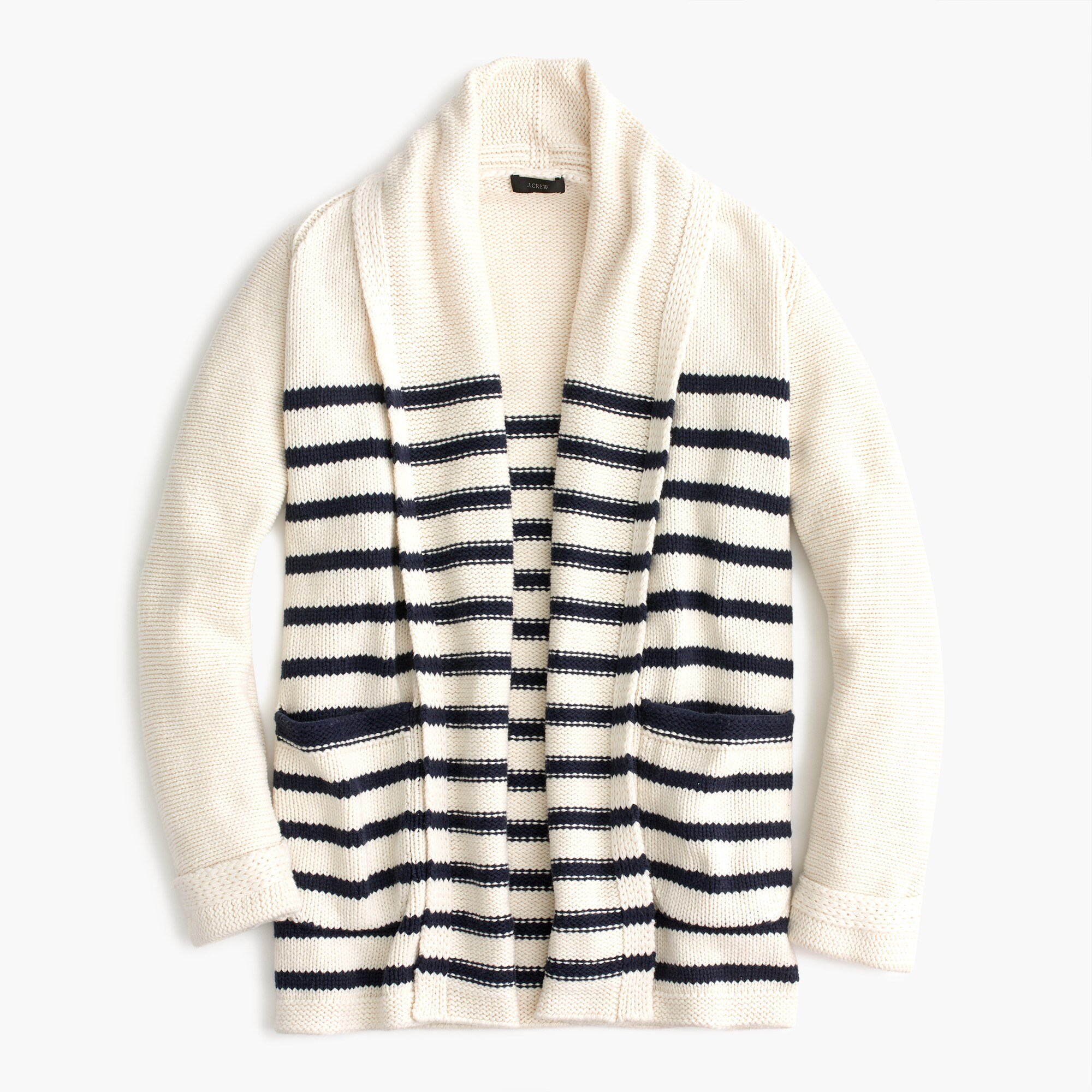 women's long open cardigan sweater in stripe