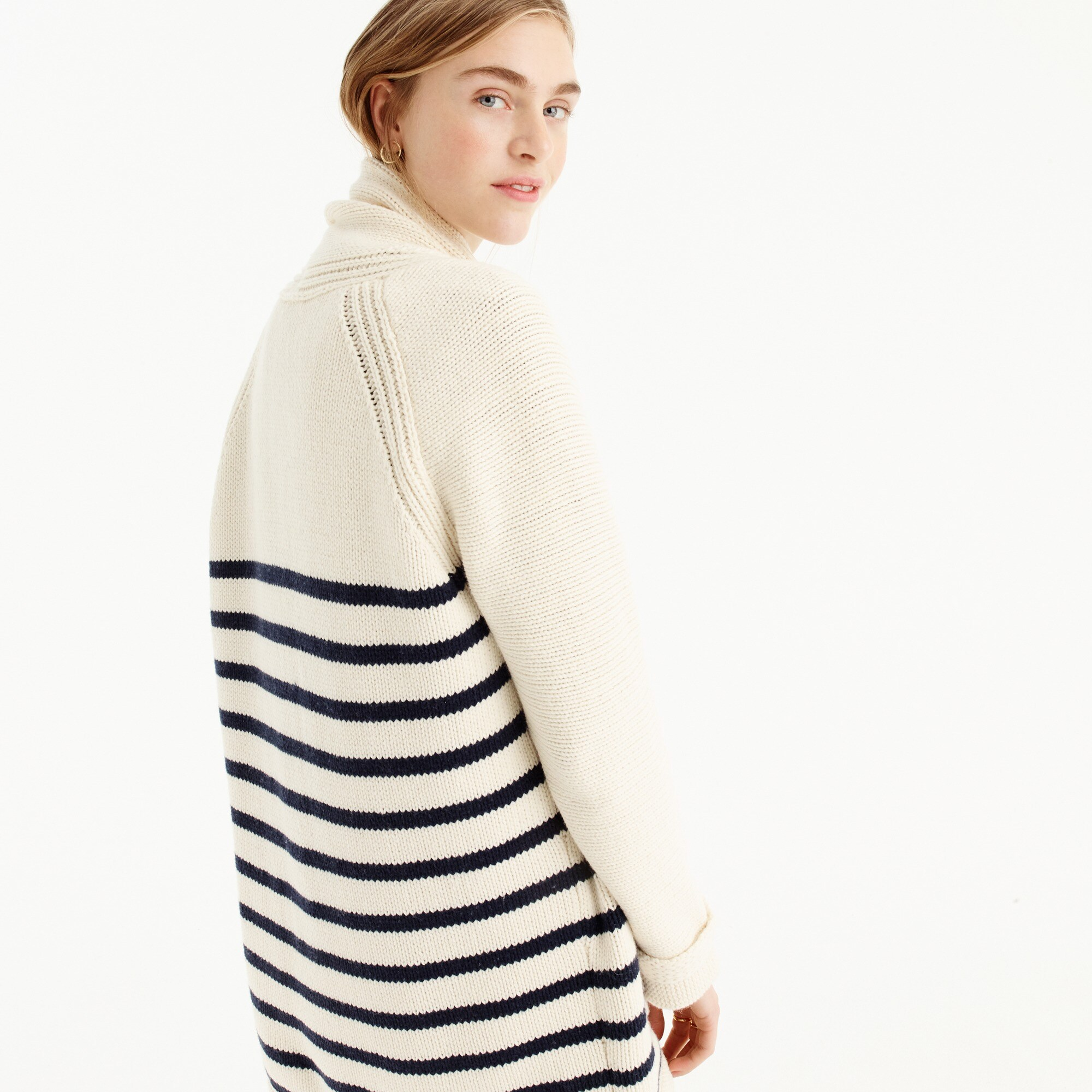 Image 4 for Long open cardigan sweater in stripe
