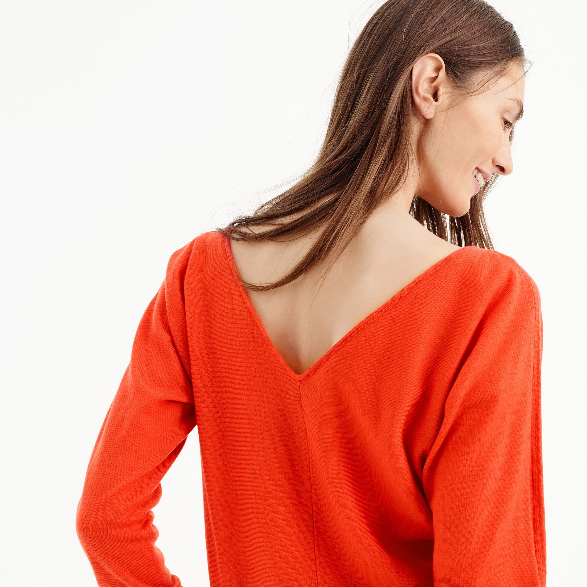 V-back pullover sweater in merino wool