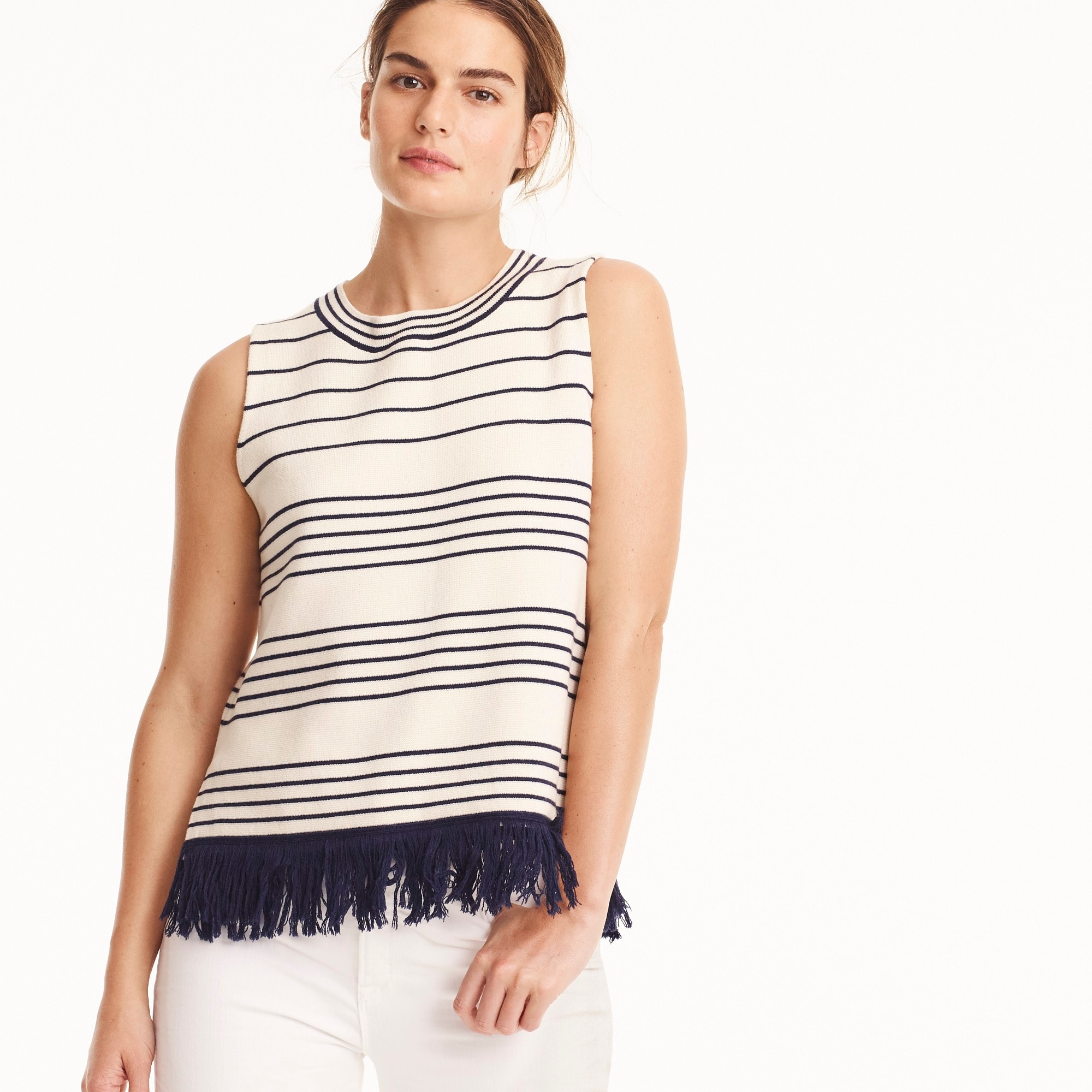 Fringed boatneck shell in stripe