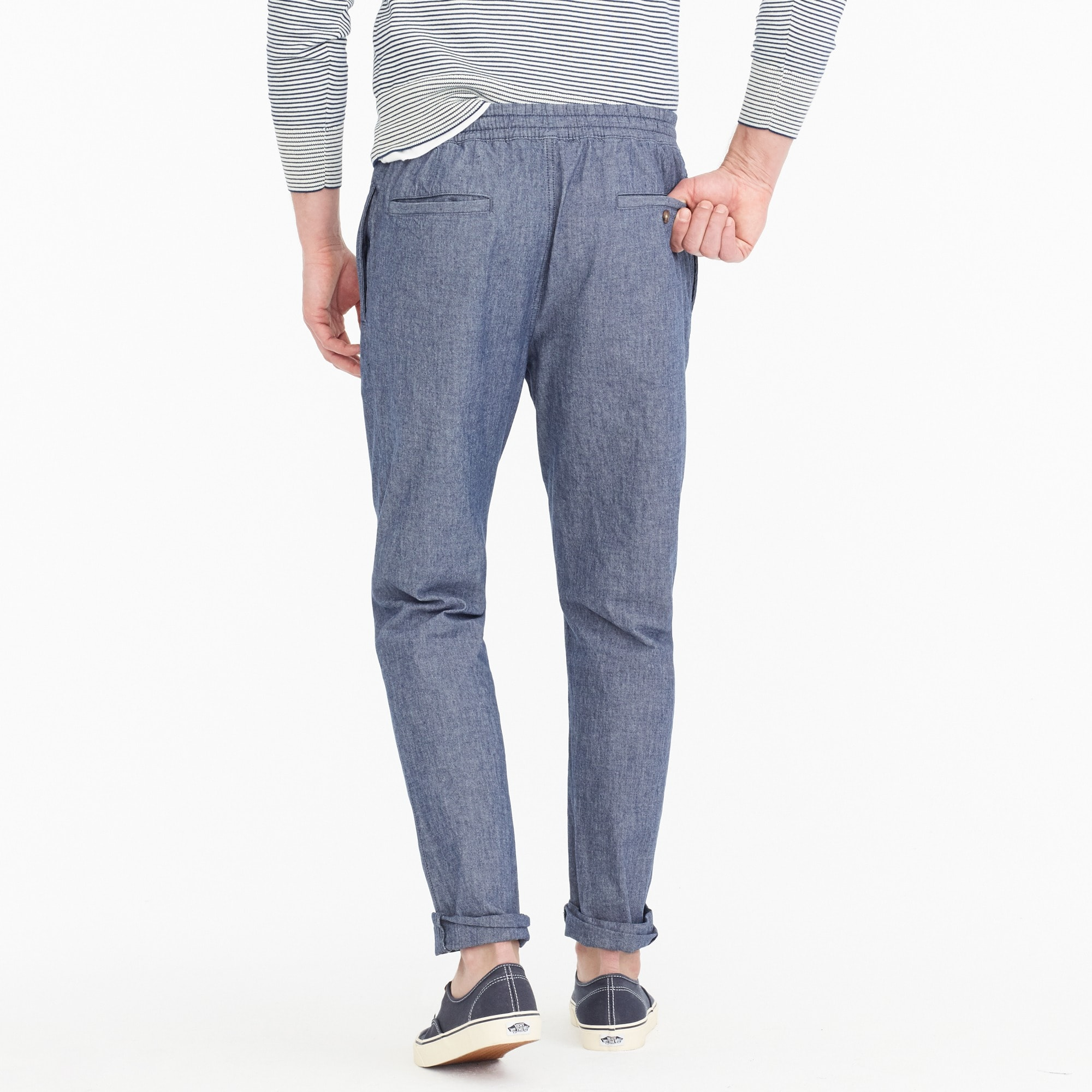 Drawstring pant in chambray