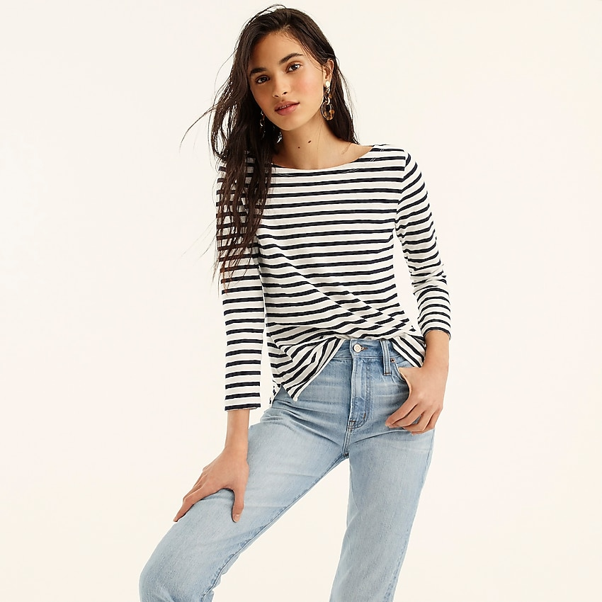 j.crew: striped boatneck t-shirt for women, right side, view zoomed