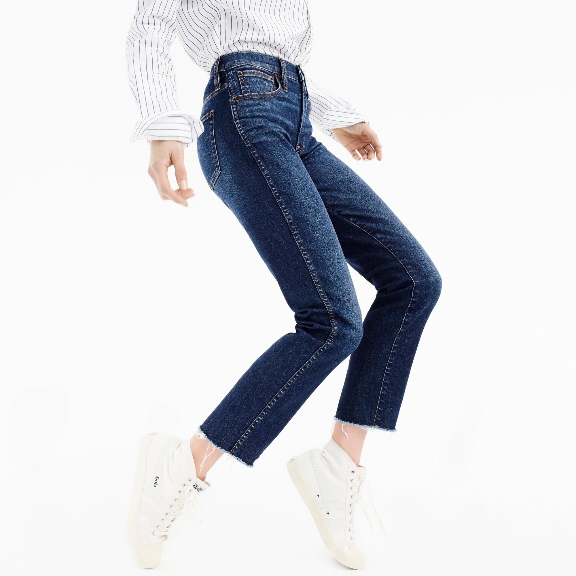 Petite vintage straight jean in Mayville wash with cut hem
