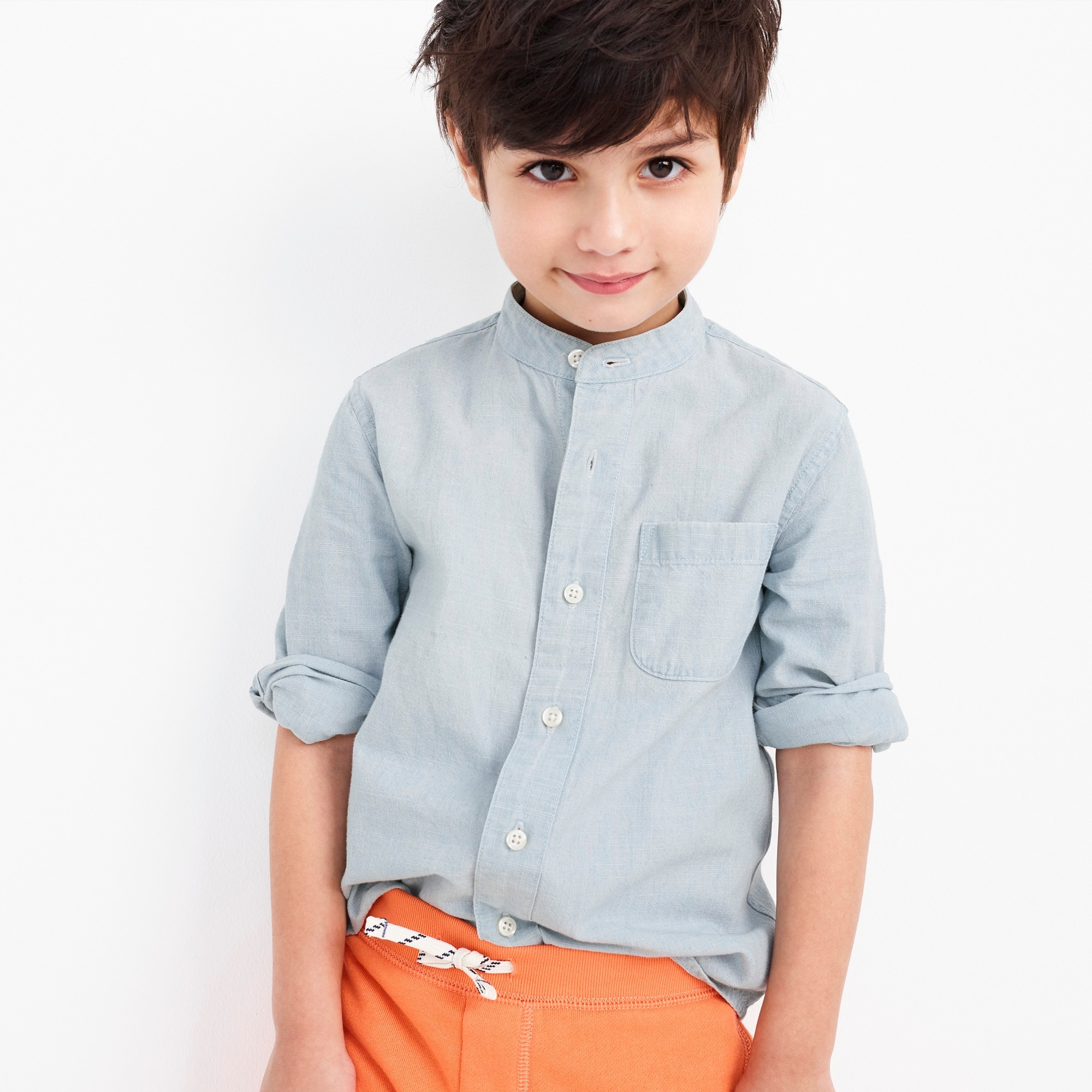 Kids' band collar shirt in chambray boy new arrivals c