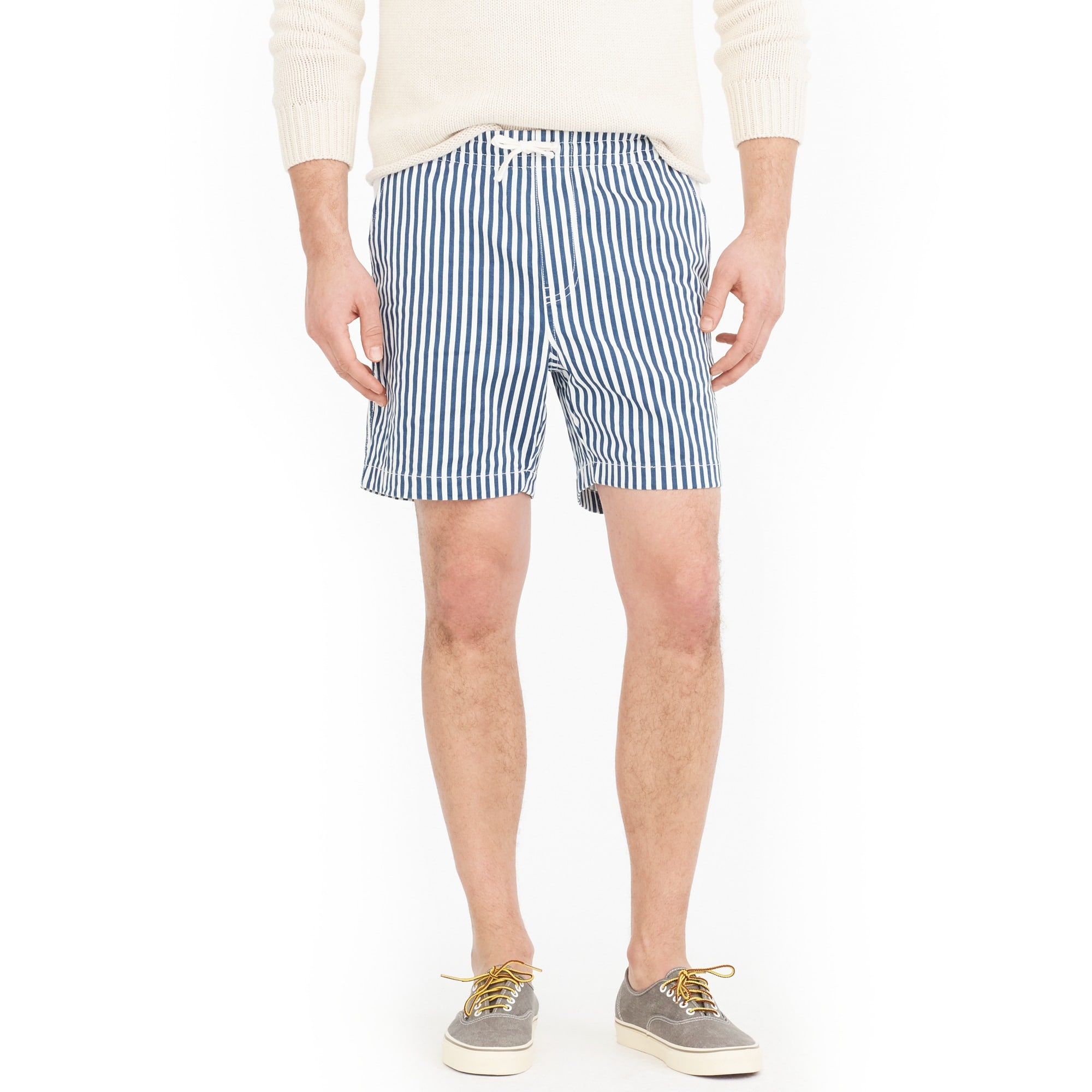Stretch dock short in cotton stripe