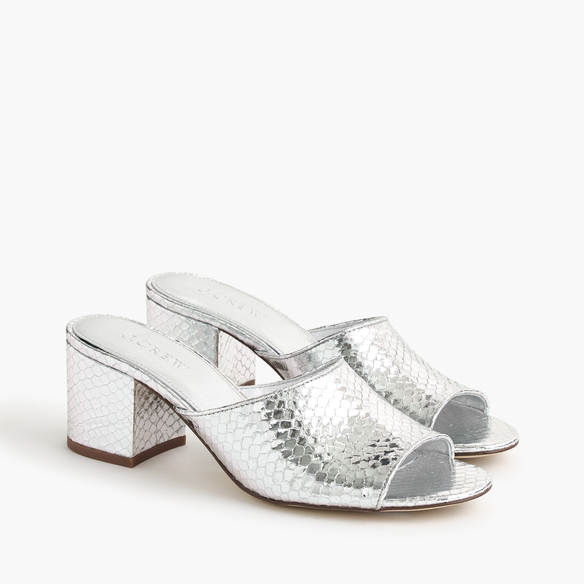 All-day mule (60mm) in metallic snakeskin women shoes c