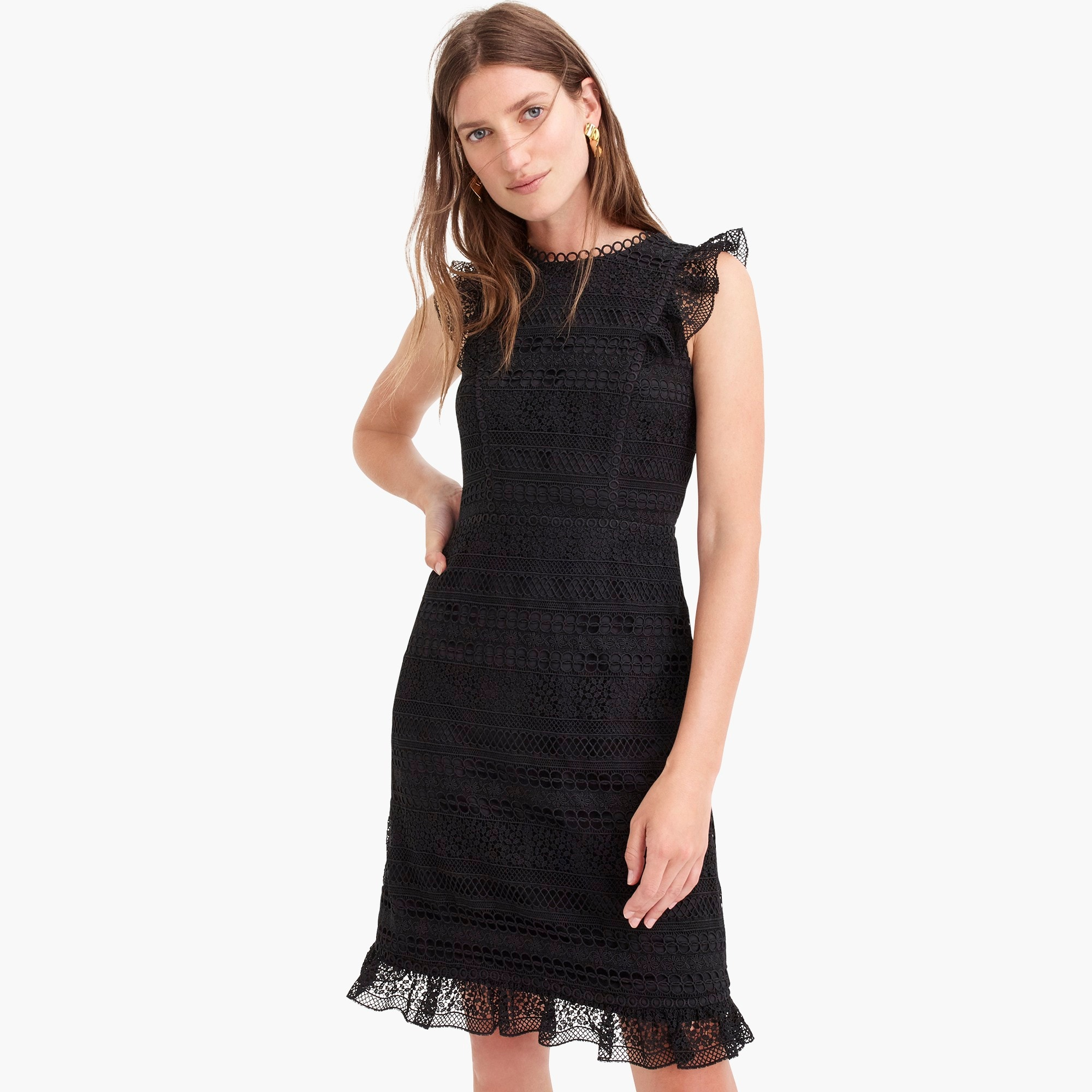 womens Cap-sleeve ruffle dress in mixed lace