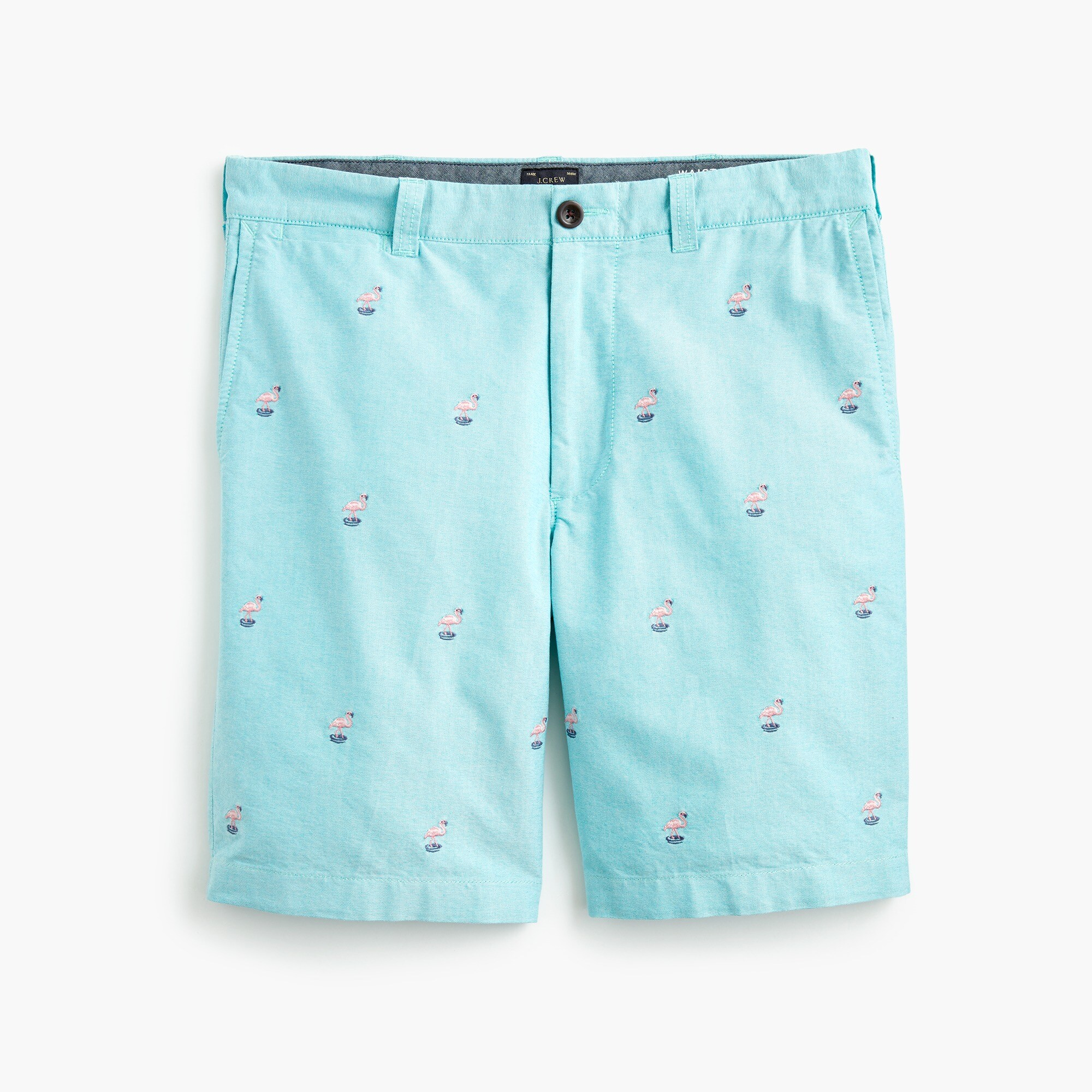 "9"" cotton short with embroidered flamingos"