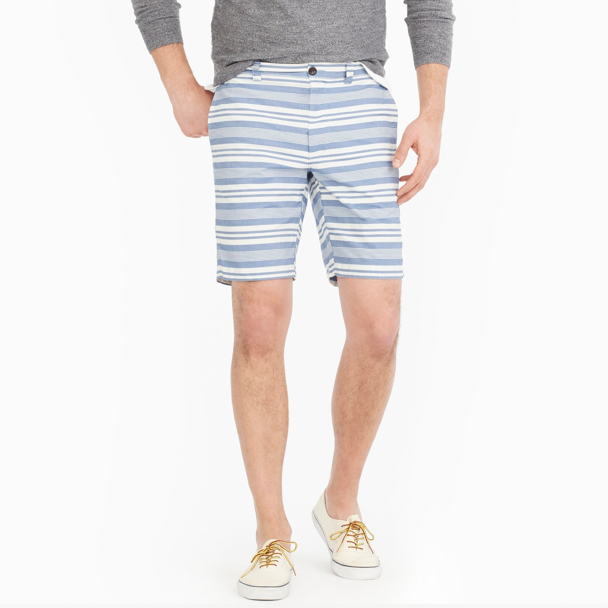 "Image 1 for 9"" oxford short in blue stripe"