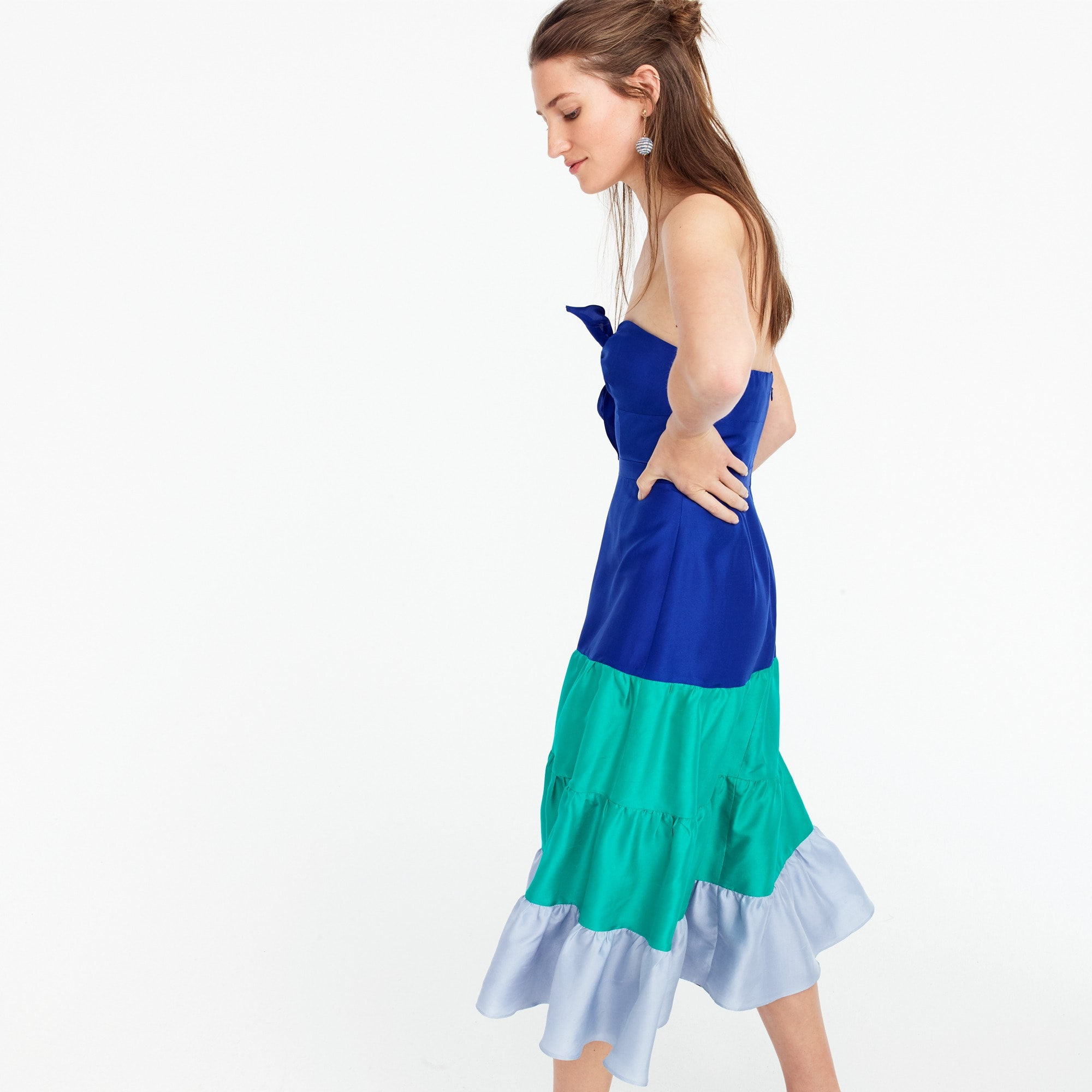 Spaghetti-strap ruffle dress in silk shantung women dresses c
