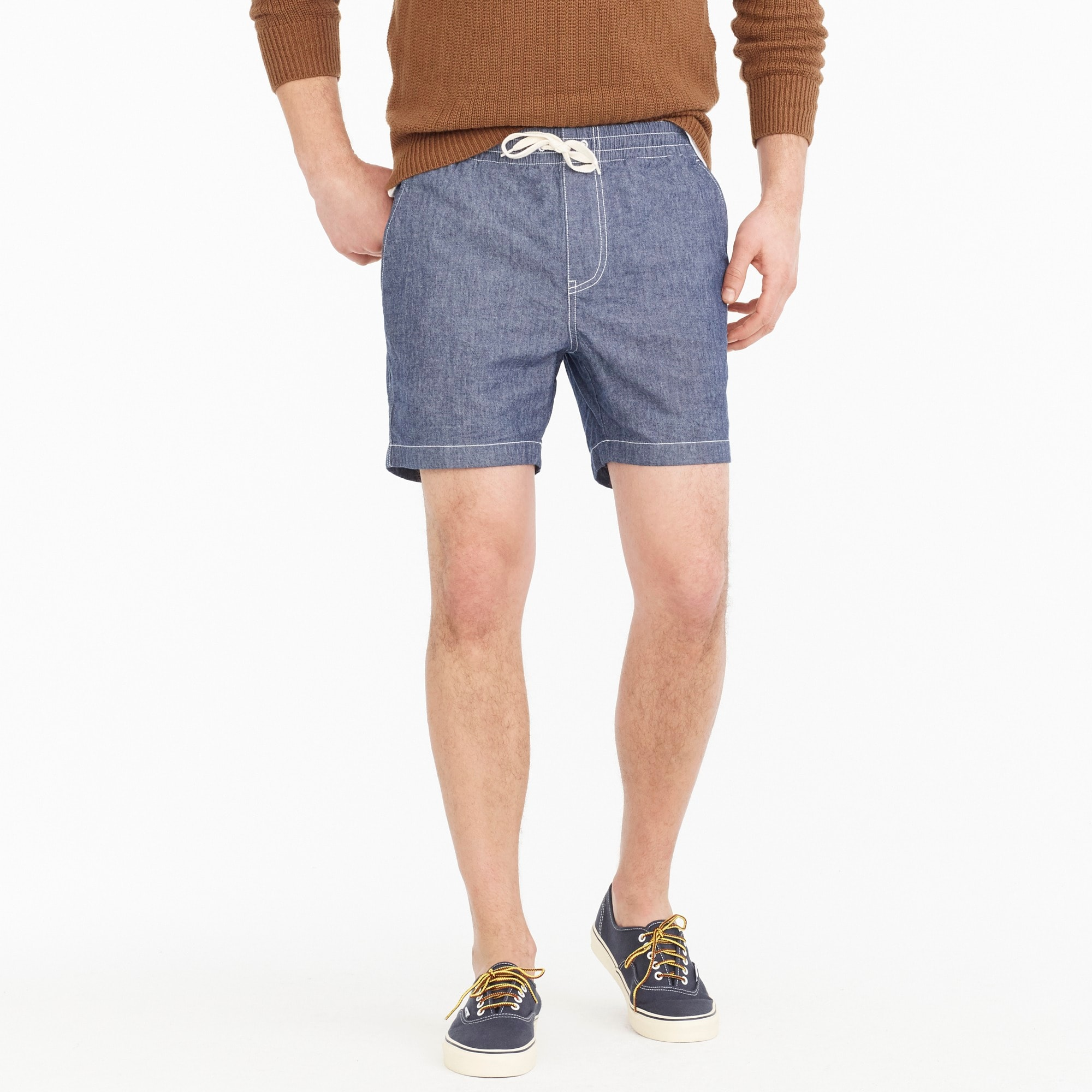 Image 1 for Stretch dock short in chambray