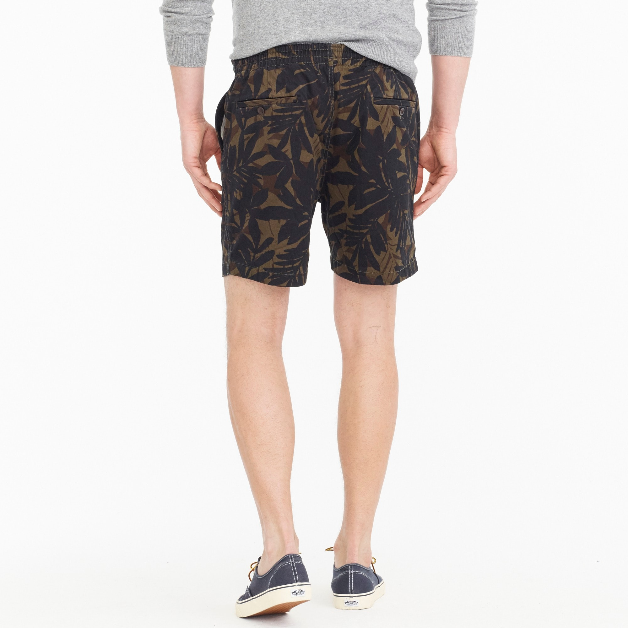 Stretch dock short in cotton camo