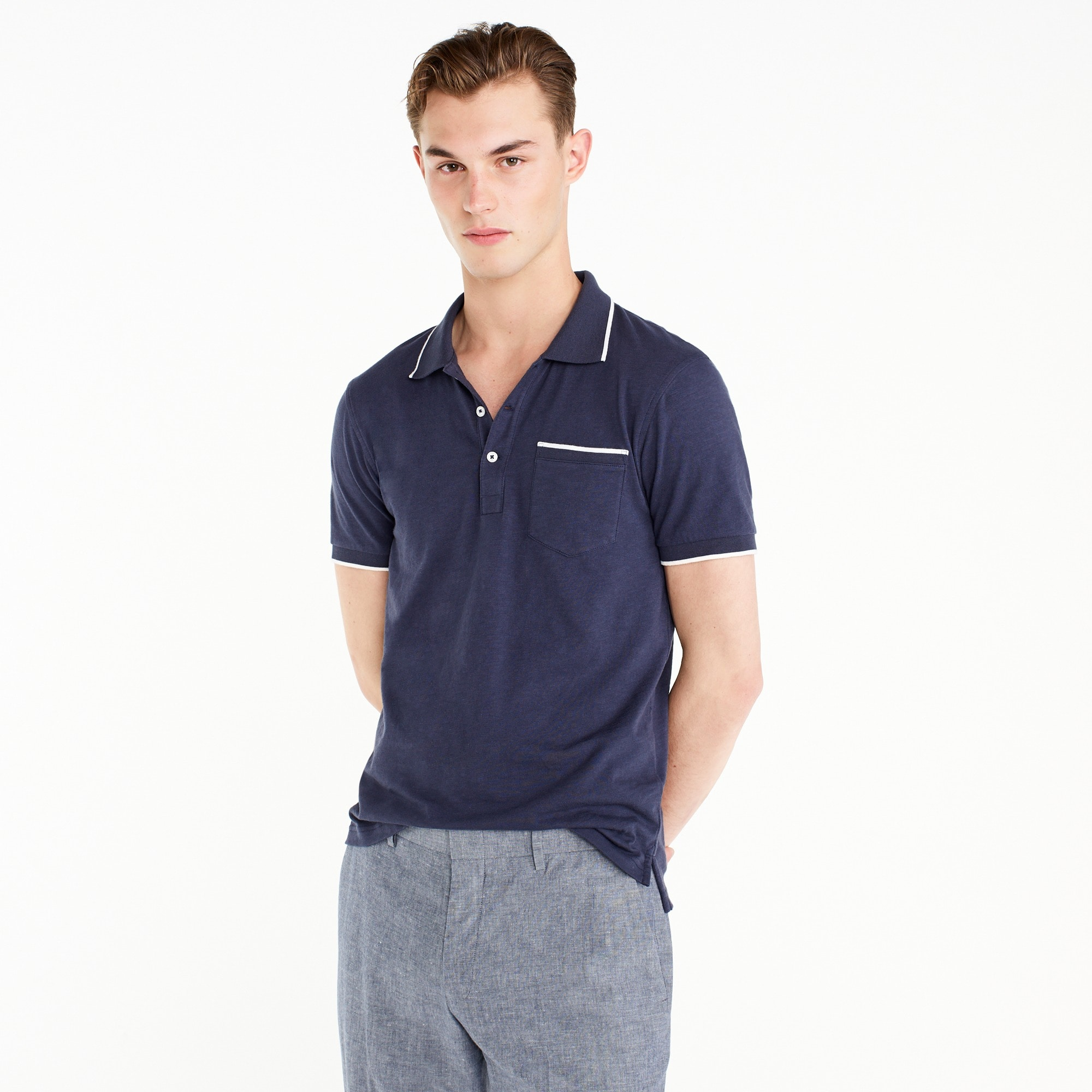Image 1 for Slub jersey polo in tipped indigo
