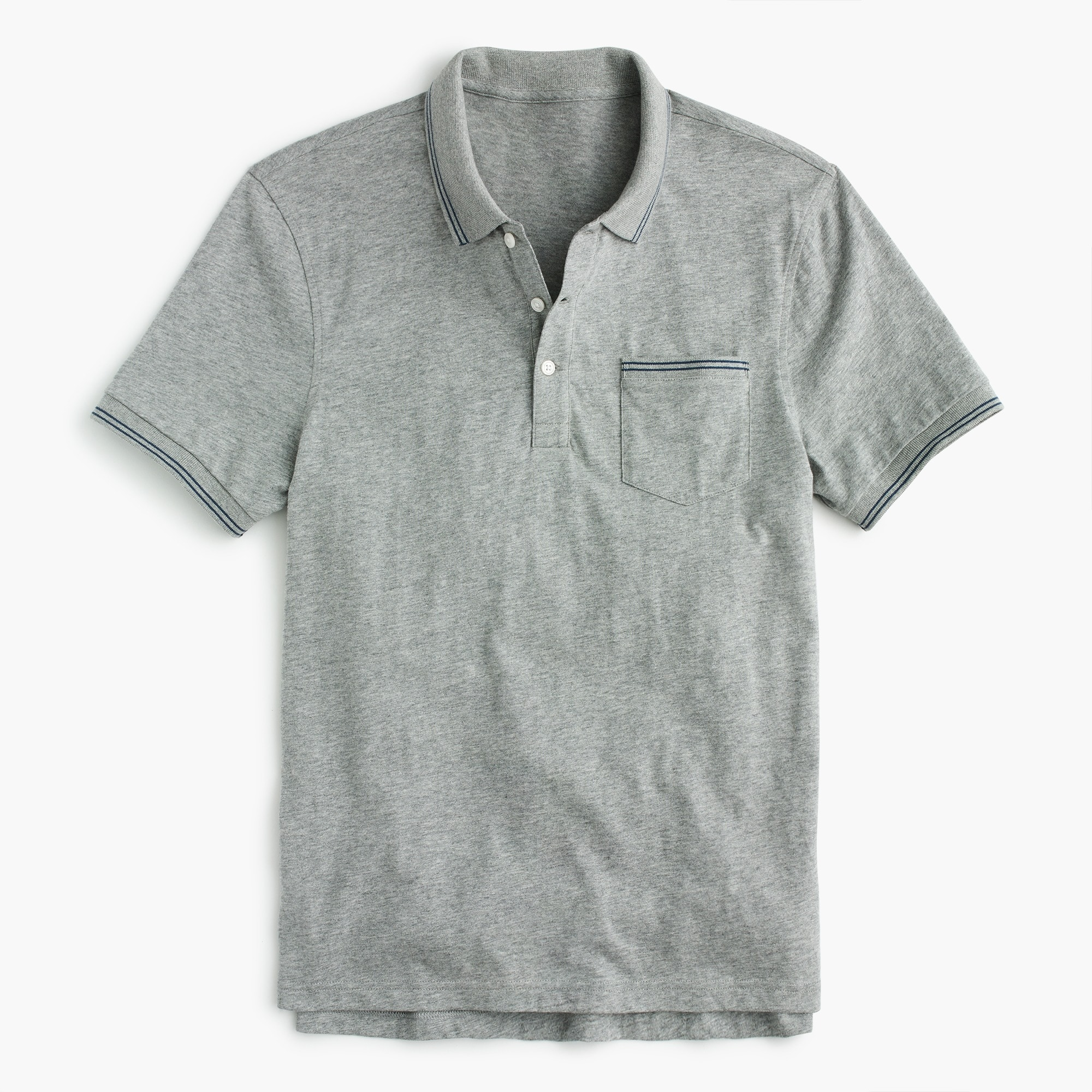 Slub cotton jersey polo in double-tipped grey men t-shirts & polos c